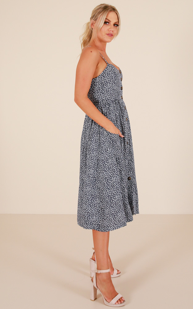 Apple City dress in navy print - 14 (XL), Navy, hi-res image number null