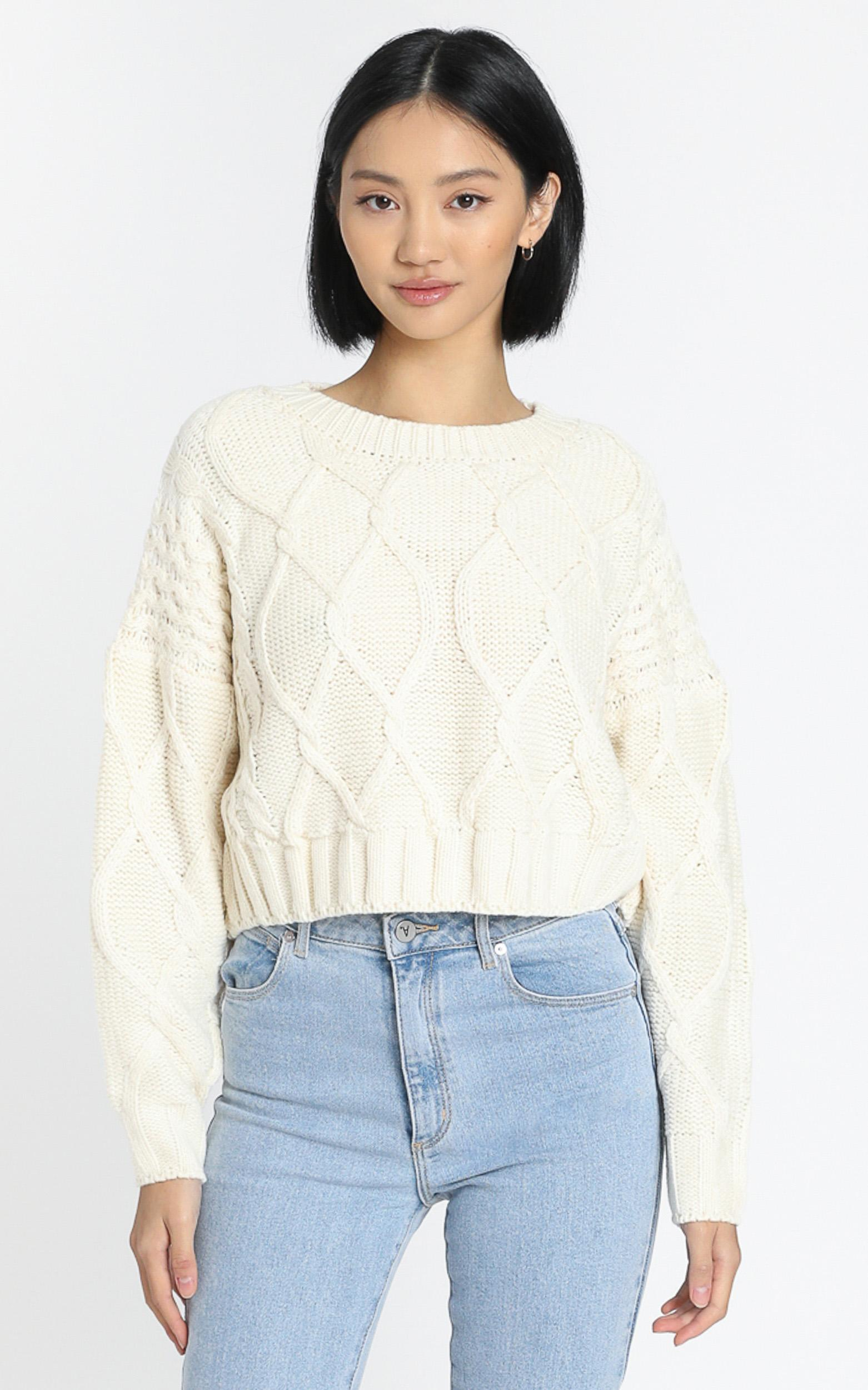 Chords of Glory Knit Jumper in cream - 20 (XXXXL), Cream, hi-res image number null
