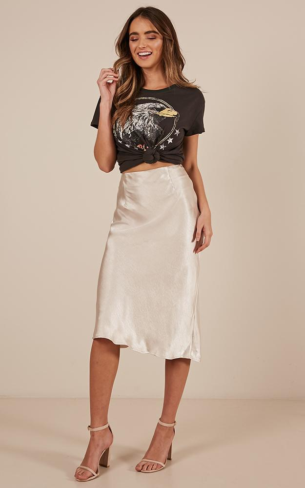 Radio Silence midi skirt in champagne satin - 12 (L), Beige, hi-res image number null