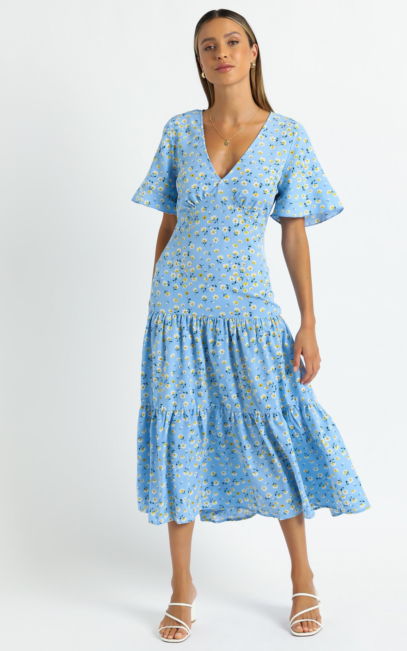 Oklahoma Dress in Blue Floral - 6 (XS), Blue, hi-res image number null