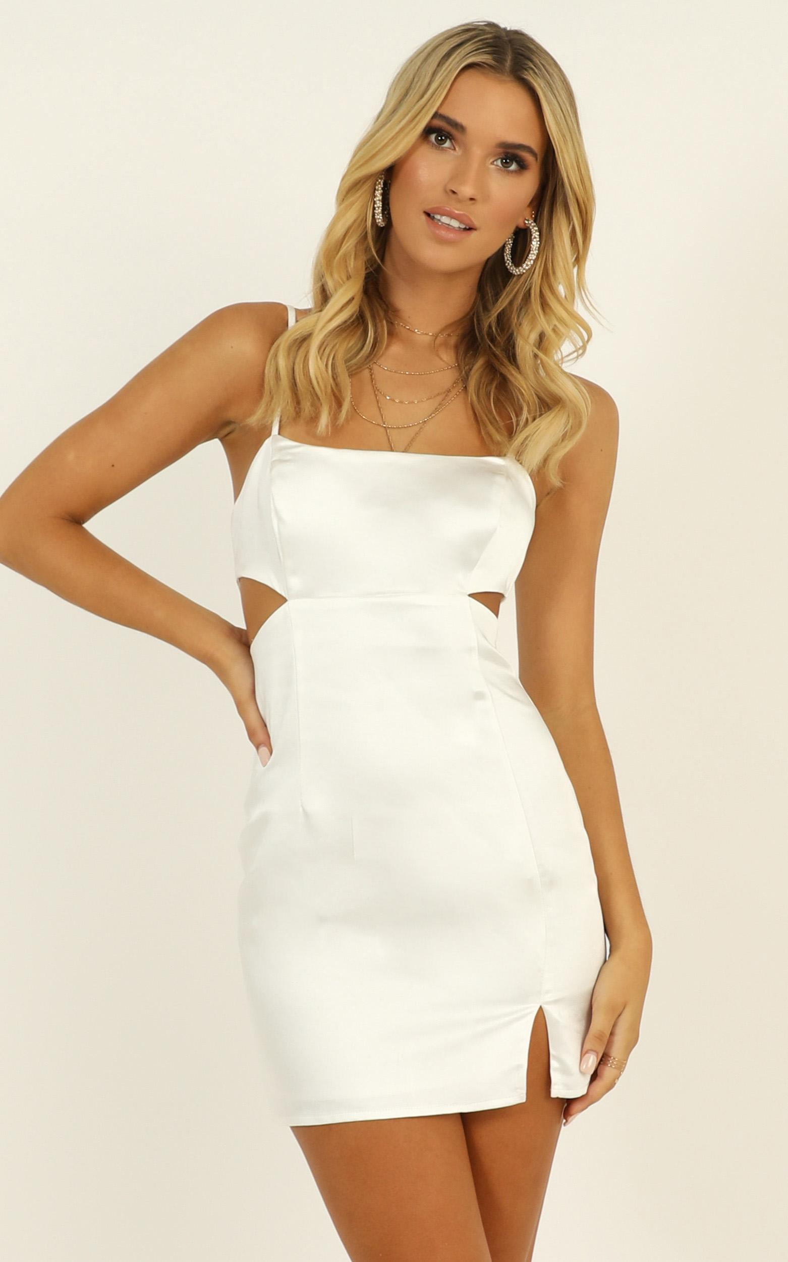 Talking Pretty Dress in white satin - 14 (XL), White, hi-res image number null