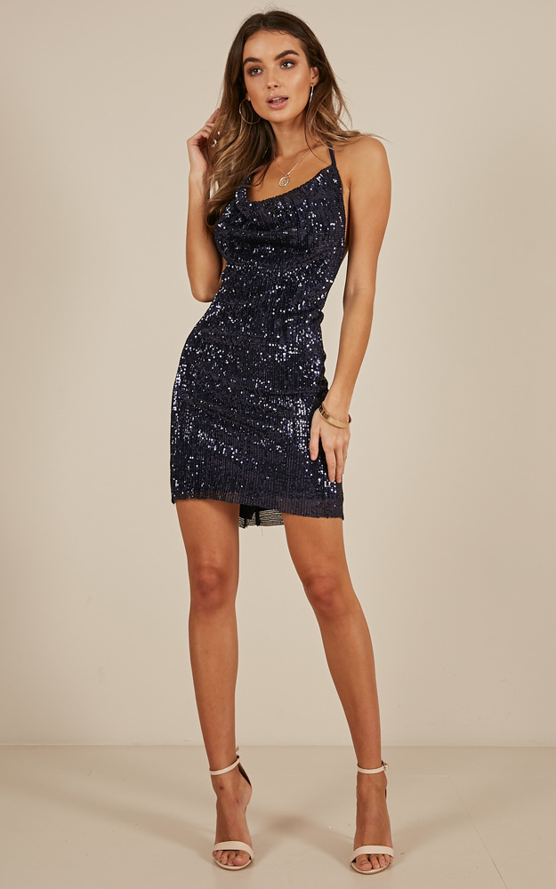 Only Tonight dress in navy sequin - 14 (XL), Navy, hi-res image number null