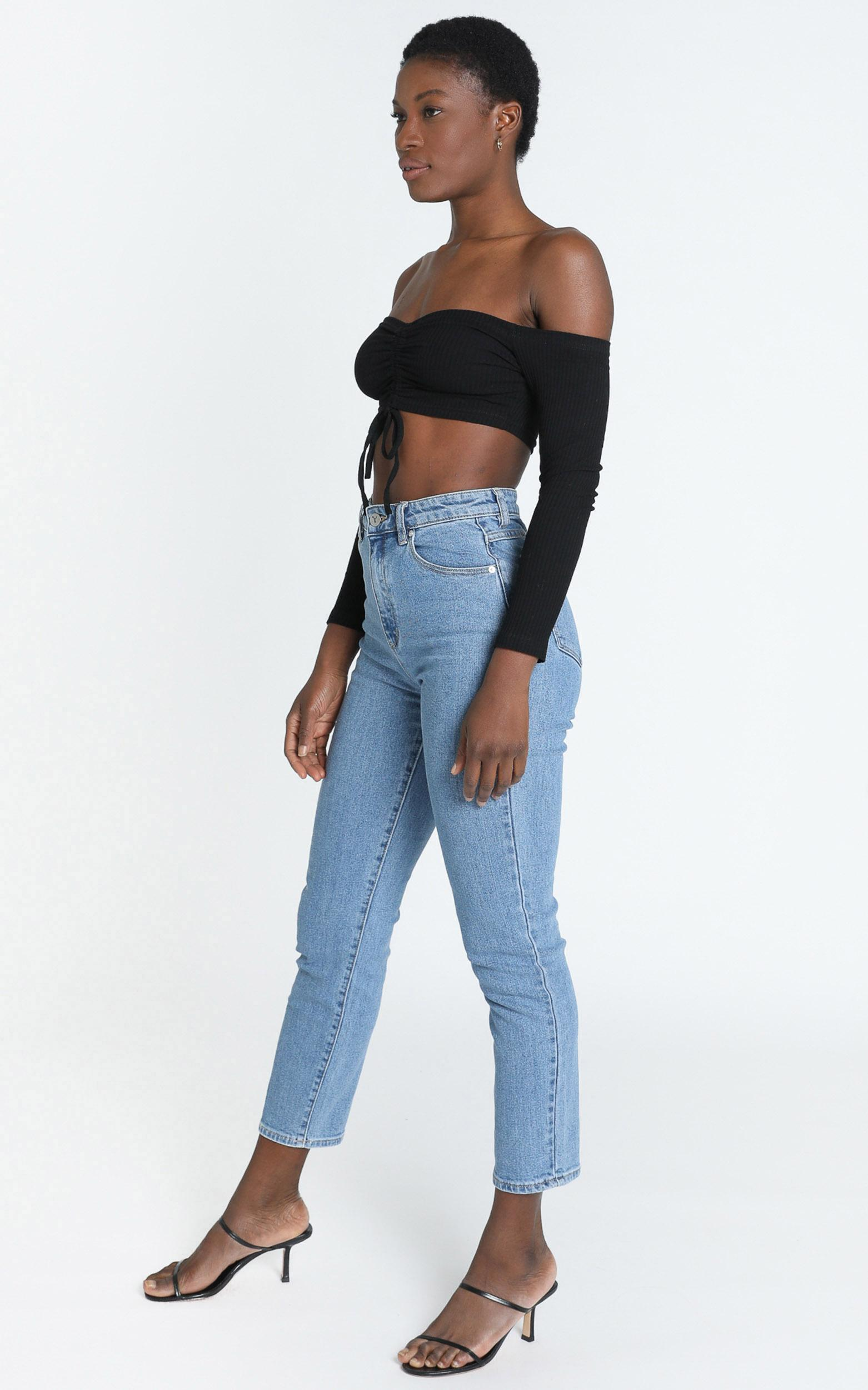 Karlo Ruched Front Top in Black - 6 (XS), Black, hi-res image number null