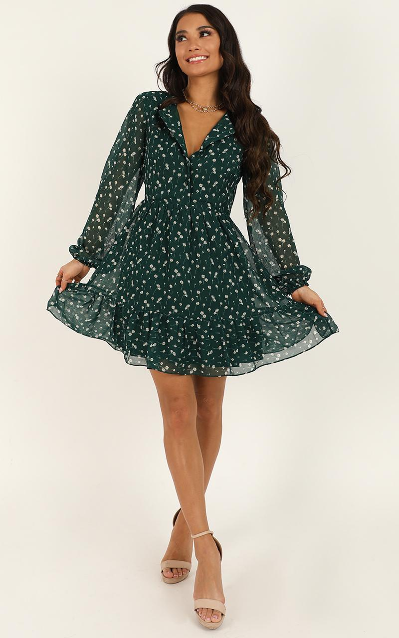 Not Together Dress in emerald floral - 20 (XXXXL), Green, hi-res image number null