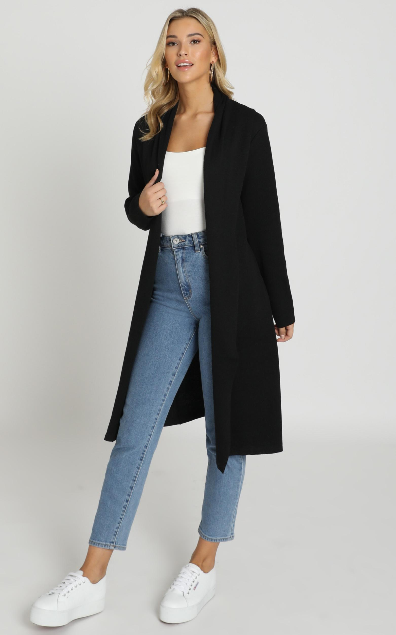 Strong Spirited Knit Coat In Black - 20 (XXXXL), Black, hi-res image number null
