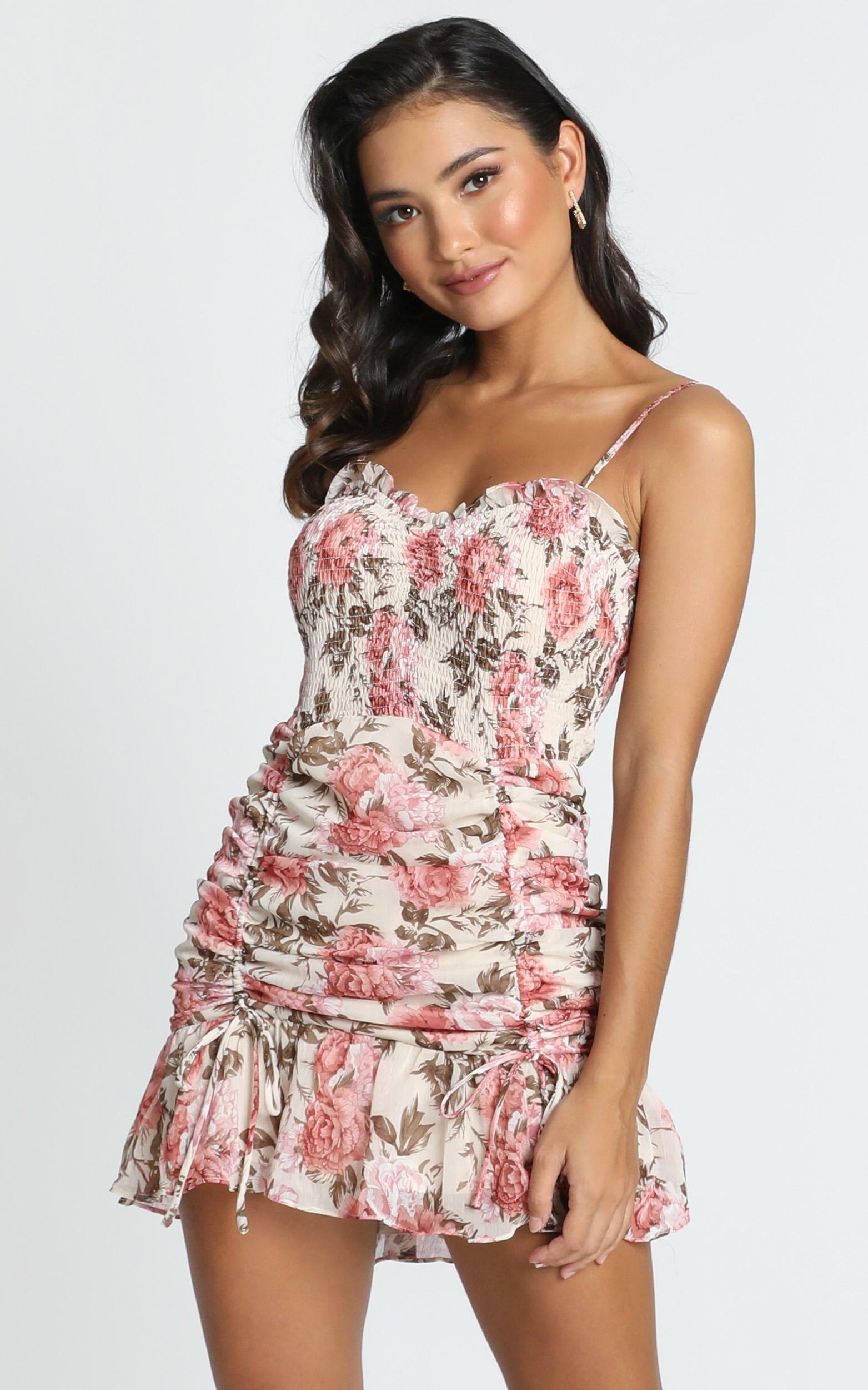 Florence Dress in Rose Floral - 12 (L), Pink, hi-res image number null
