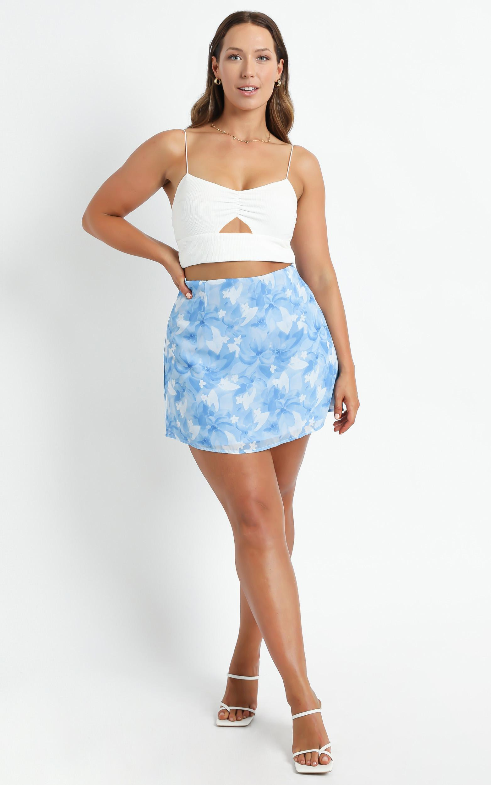 Only Offer Skirt in Cloudy Floral - 6 (XS), Blue, hi-res image number null