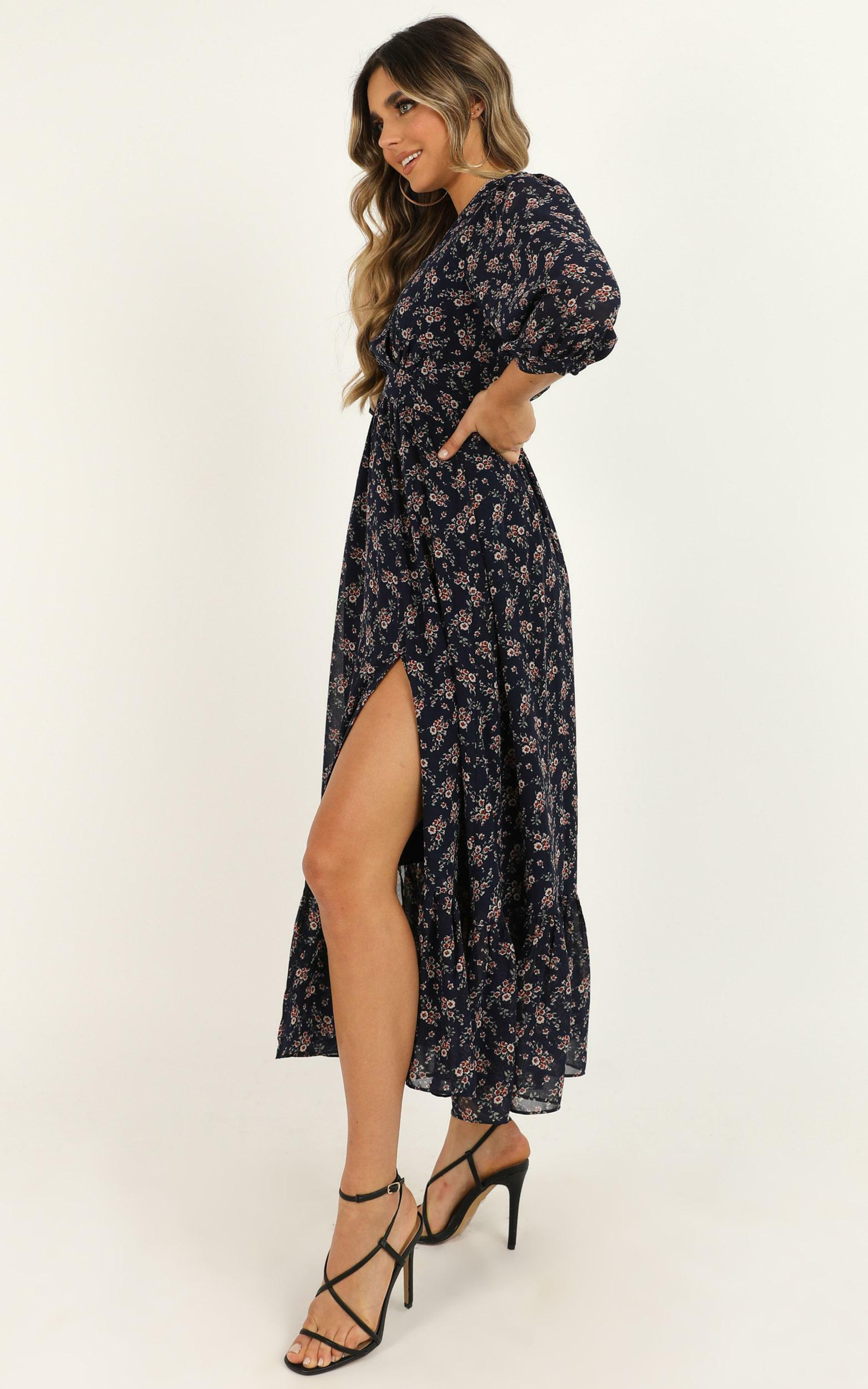 Copied Over Dress in navy floral - 20 (XXXXL), Navy, hi-res image number null