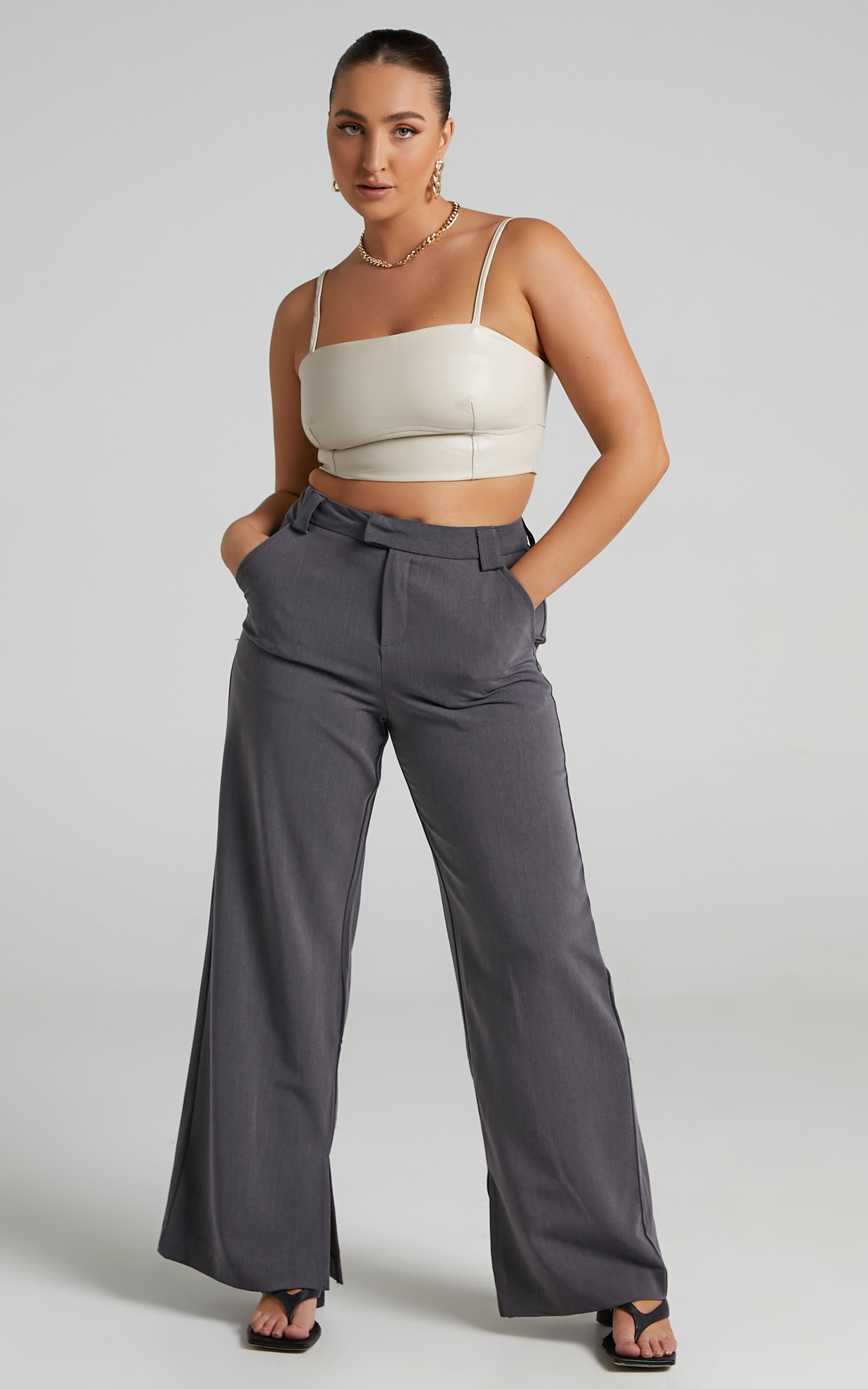 Maxwell Under Bust Detail Crop Top in Taupe - 06, BRN1, hi-res image number null
