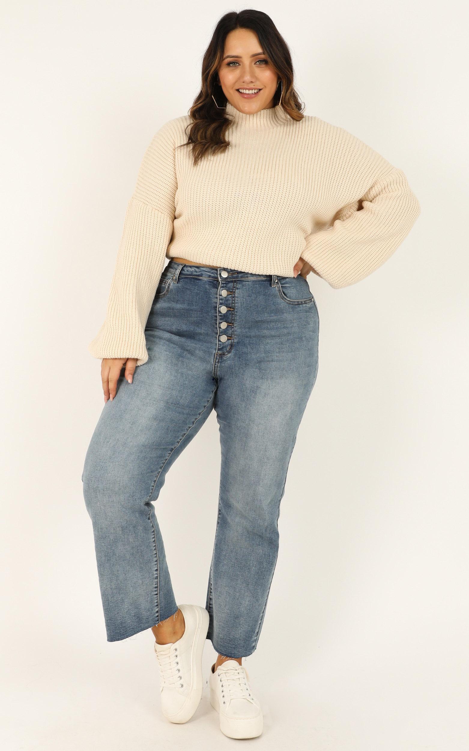 I Feel Love Oversized Knit Jumper In Cream, Cream, hi-res image number null