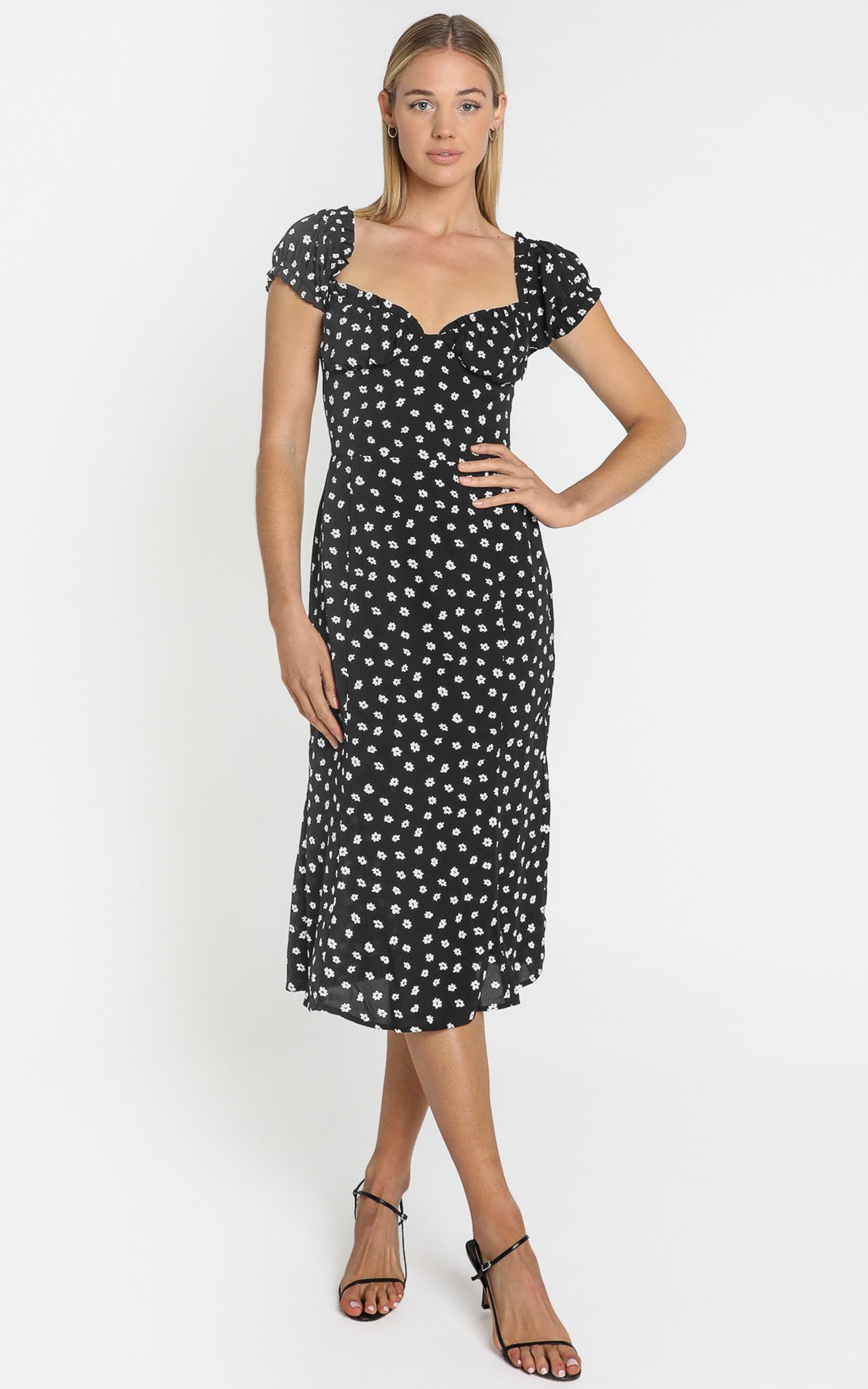 Lulu & Rose - Nova Midi Dress in Floral - 4 (XXS), Black, hi-res image number null