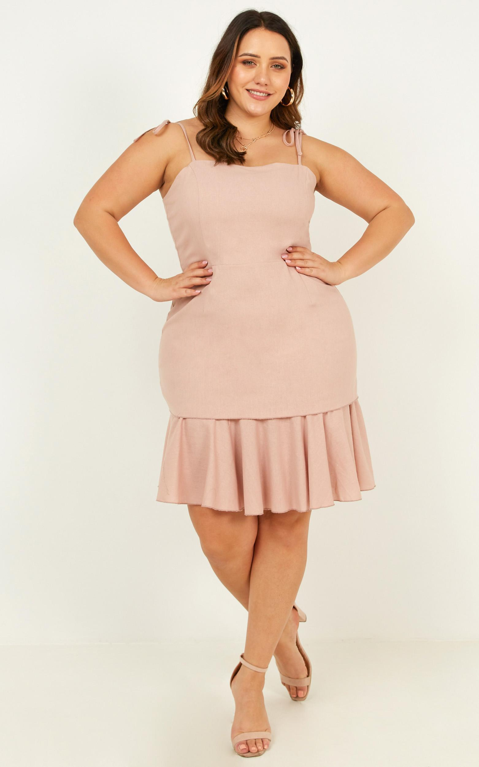 Sweetest Sin dress in blush linen look - 20 (XXXXL), Blush, hi-res image number null