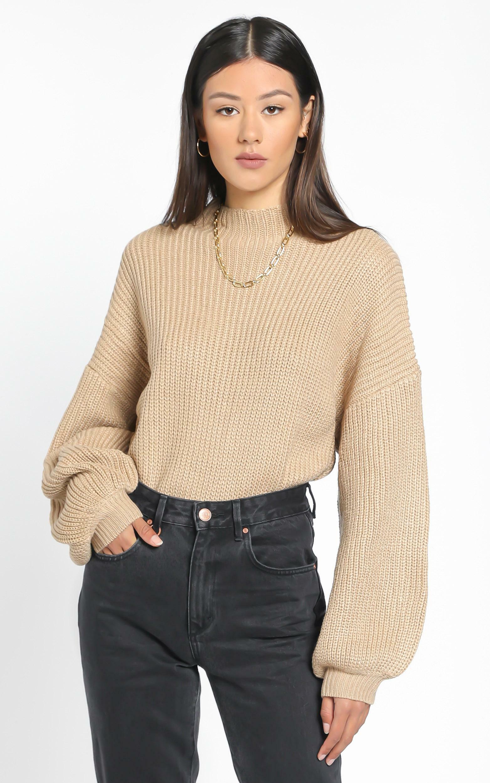 I Feel Love Oversized Knit Jumper in Mocha - 20, BRN3, hi-res image number null