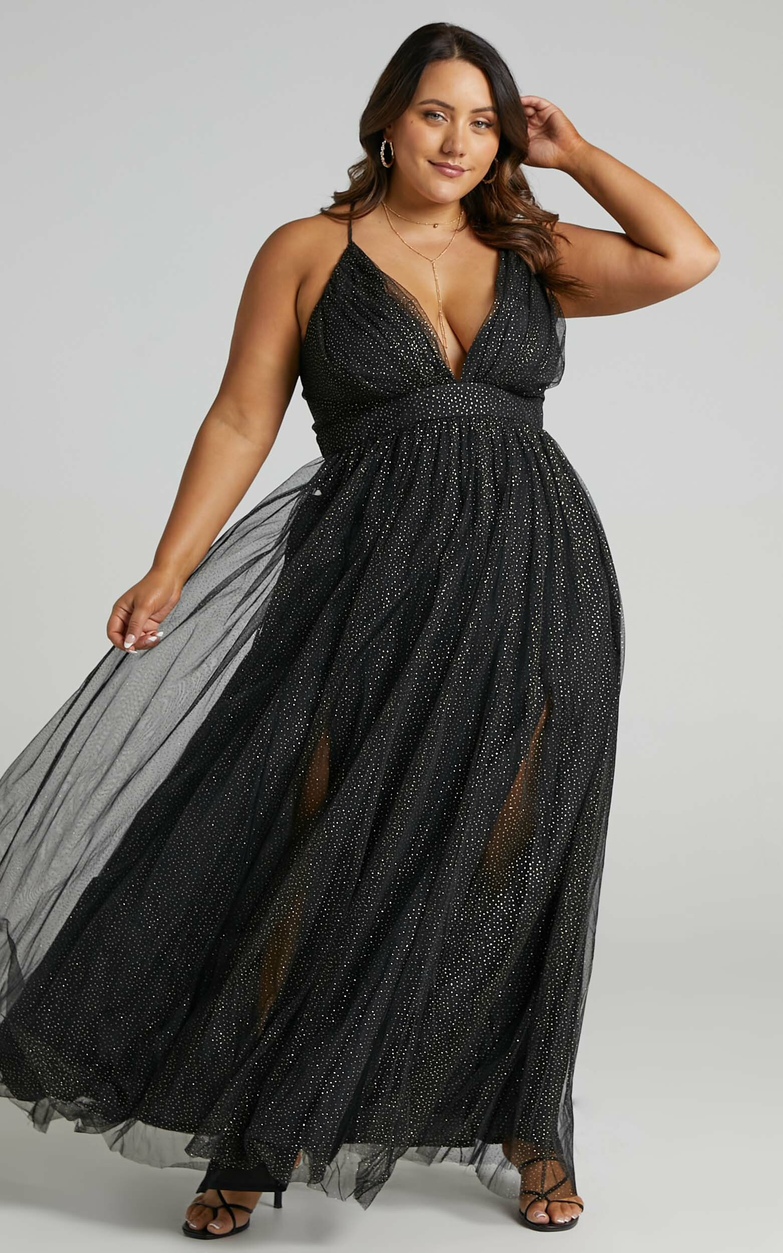 Tell Me Lies Dress in Black Spot Tulle - 04, BLK1, hi-res image number null