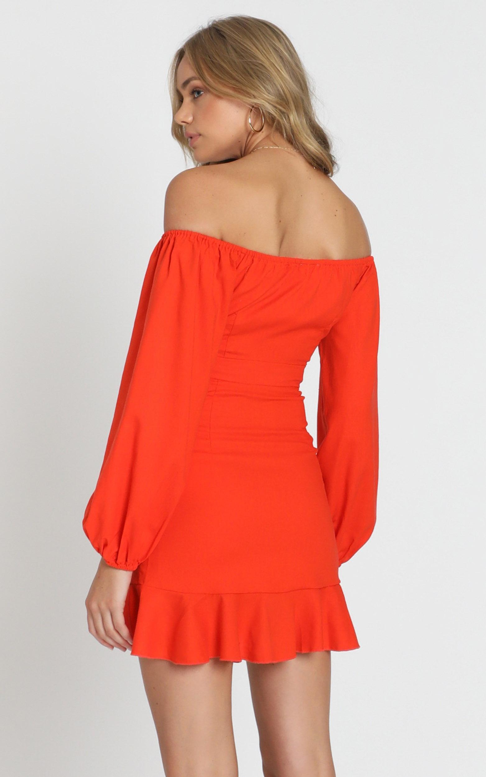 Cant Move On Dress in tangerine linen look - 20 (XXXXL), Orange, hi-res image number null