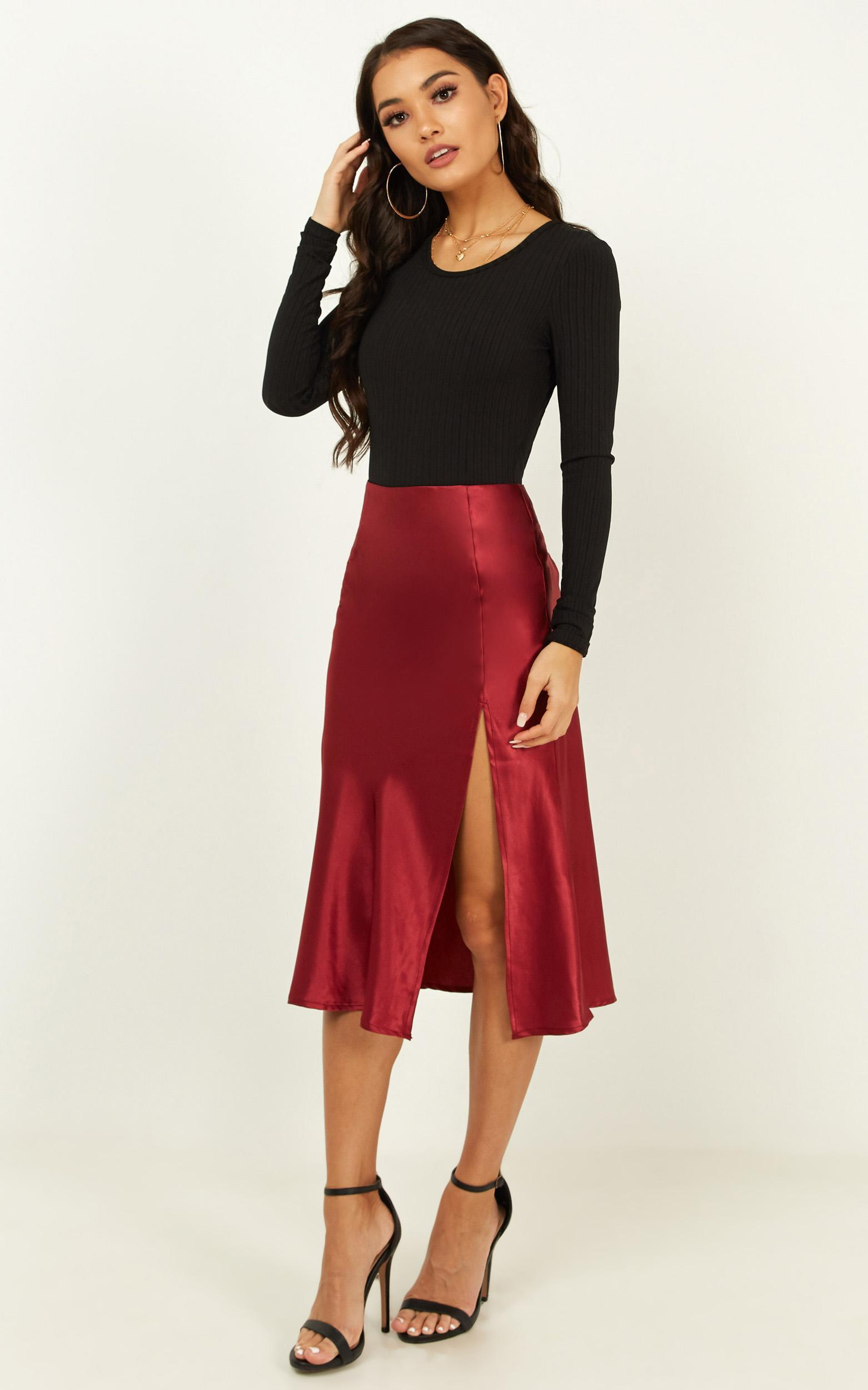 No More Fears Skirt in wine satin - 20 (XXXXL), Wine, hi-res image number null