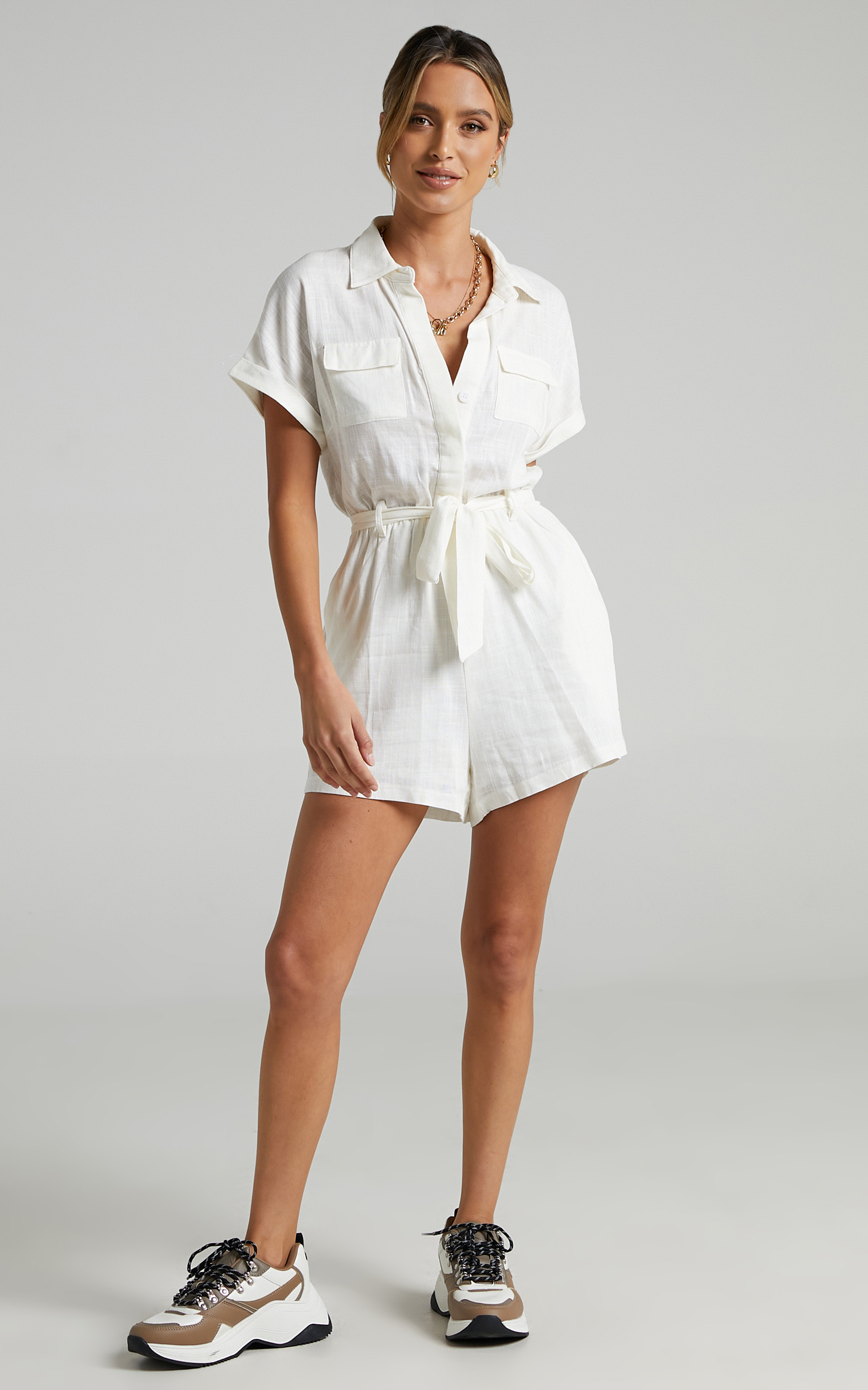 Zarina Belted Playsuit in White - 12, WHT5, hi-res image number null