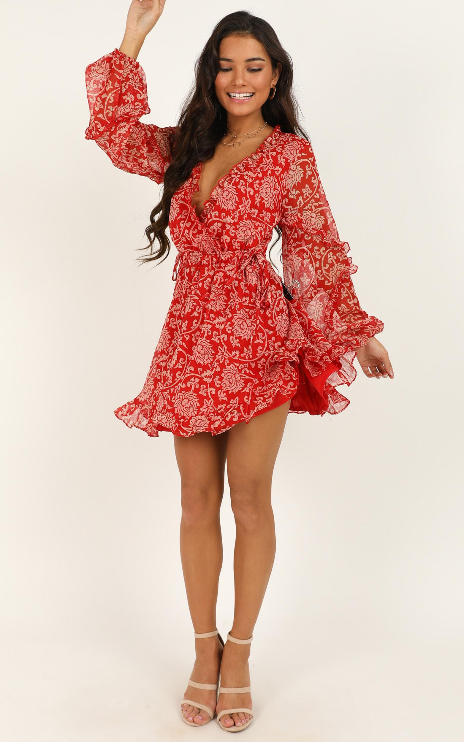 Nobody Else Matters dress in red print - 12 (L), Red, hi-res image number null