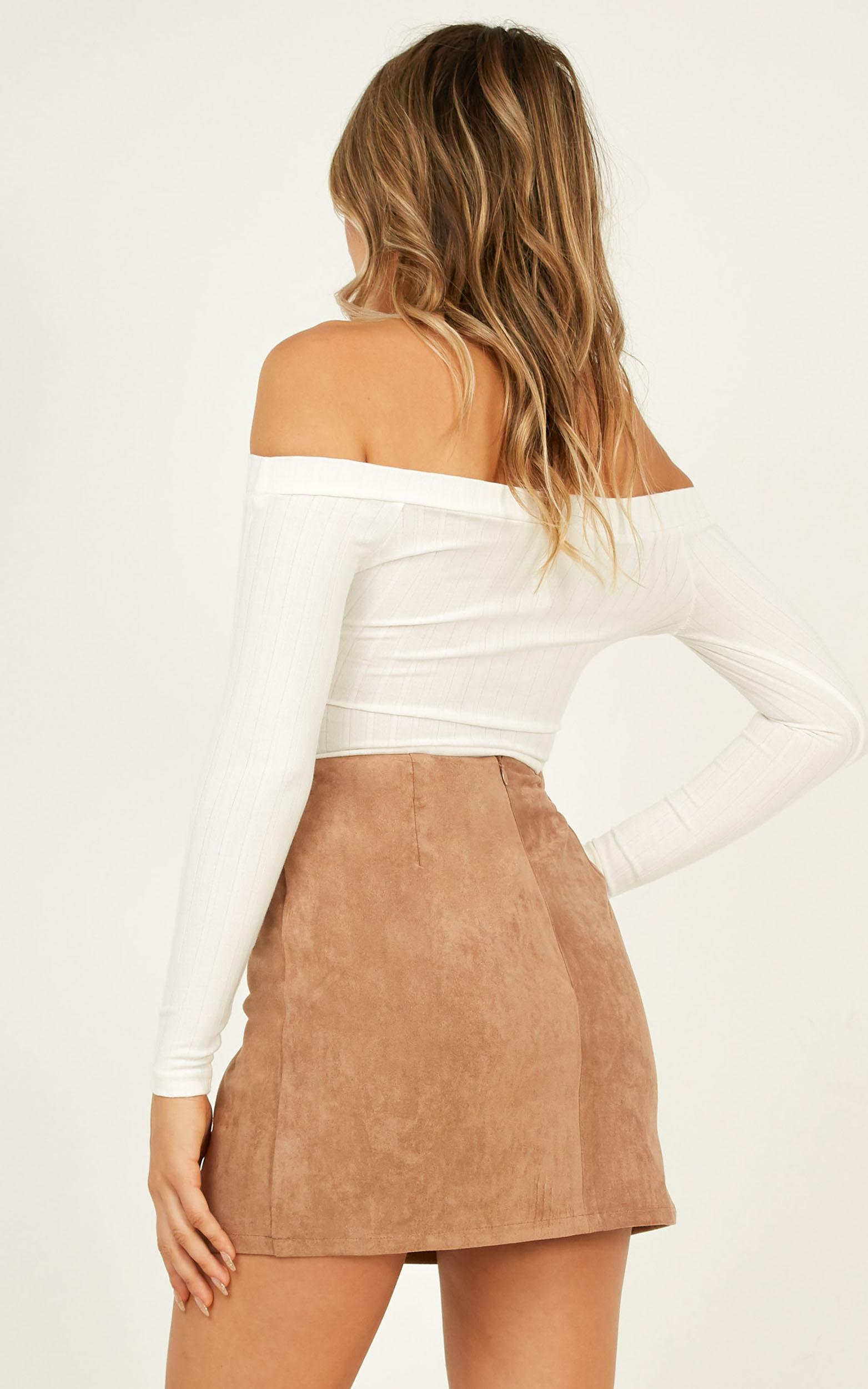 Wait In Line Skirt in taupe suedette - 6 (XS), Taupe, hi-res image number null