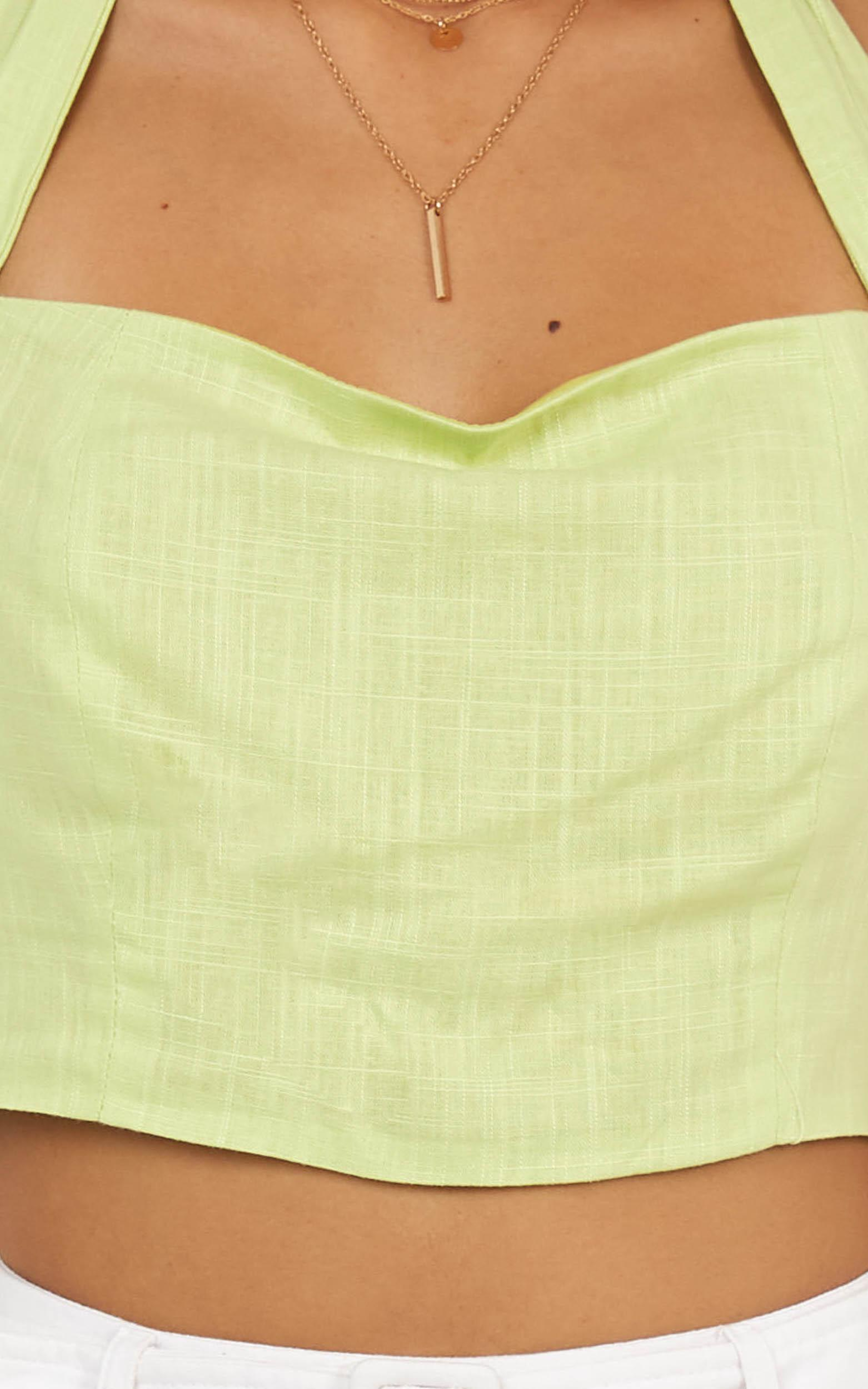 Holiday Girl Top in lime linen look - 20 (XXXXL), Green, hi-res image number null