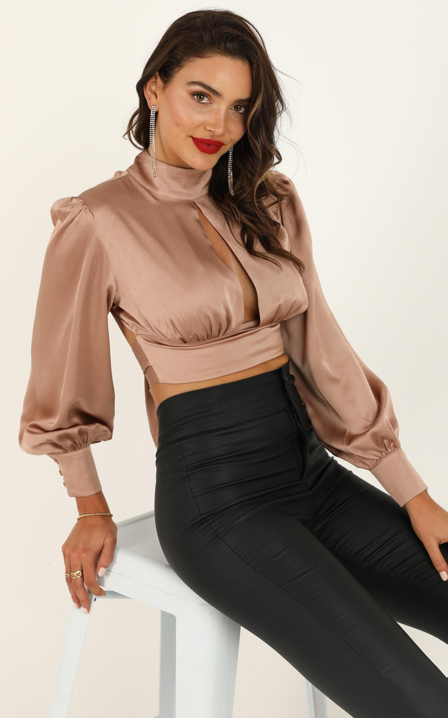 Things I Do top in mocha satin - 6 (XS), Mocha, hi-res image number null
