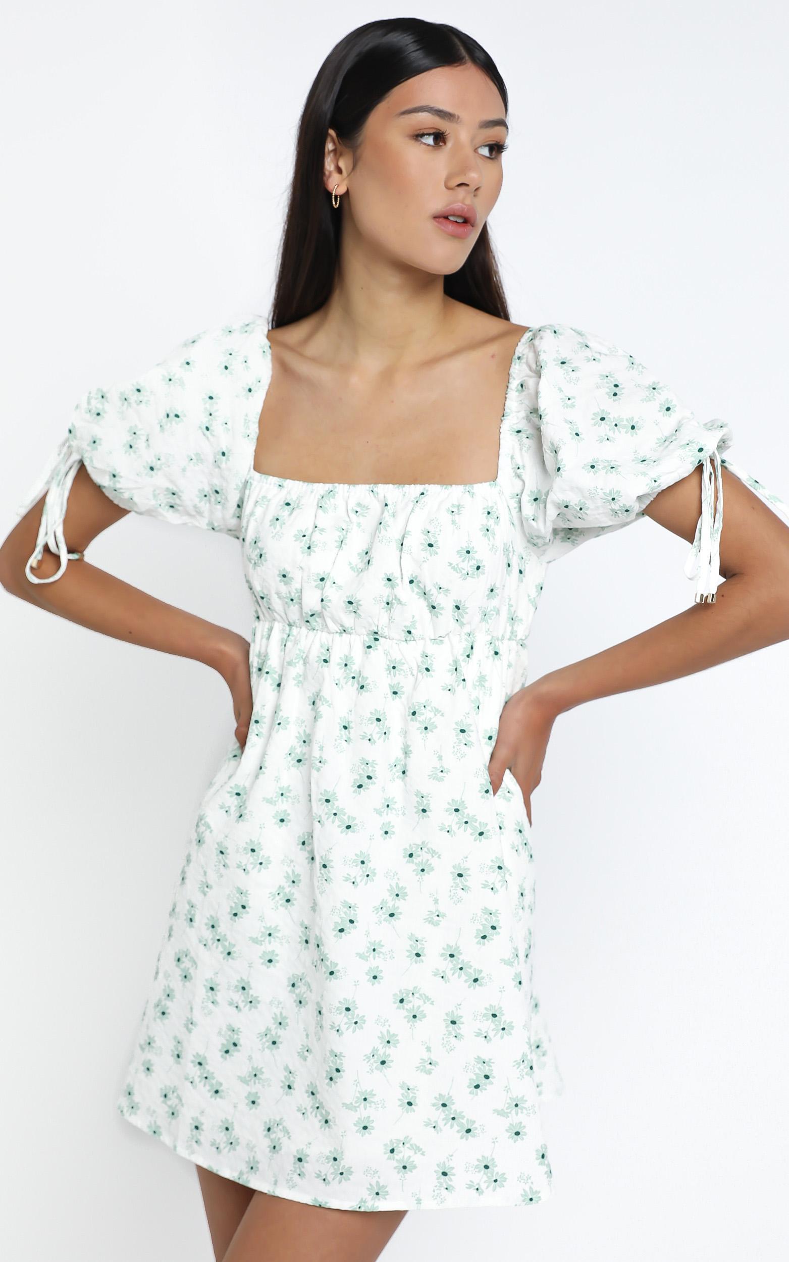 Peppi Dress in Sage Floral - 14 (XL), Sage, hi-res image number null