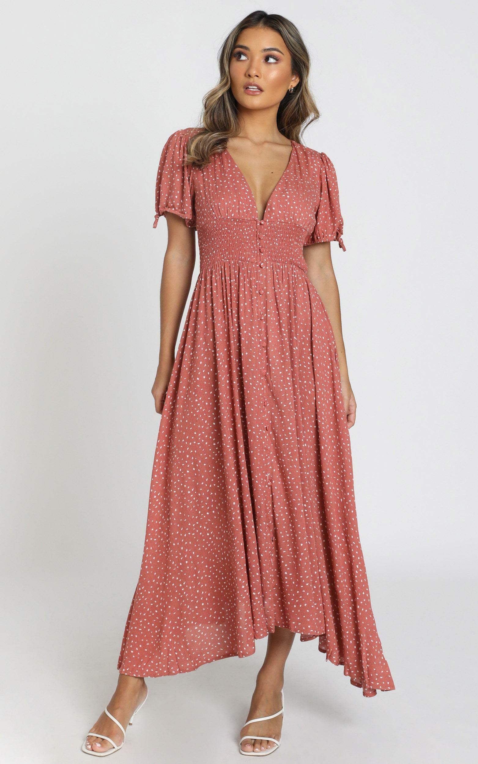Claudia Midi Dress in rust spot - 6 (XS), Rust, hi-res image number null