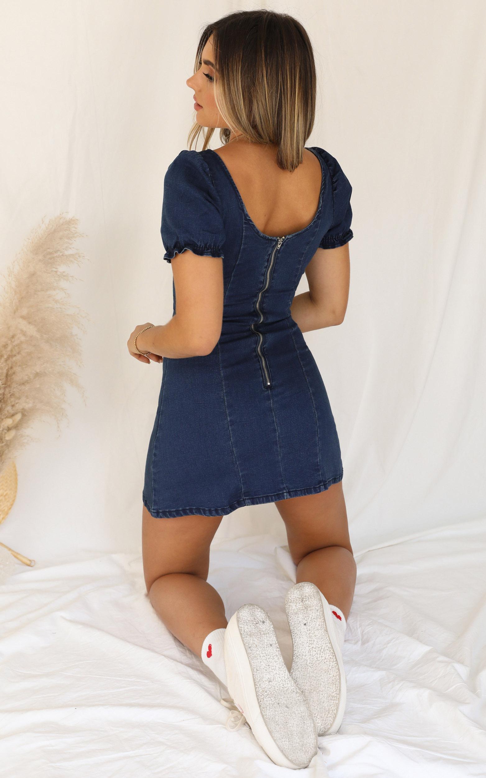 Not Yours Denim Dress in dark blue wash - 20 (XXXXL), Blue, hi-res image number null