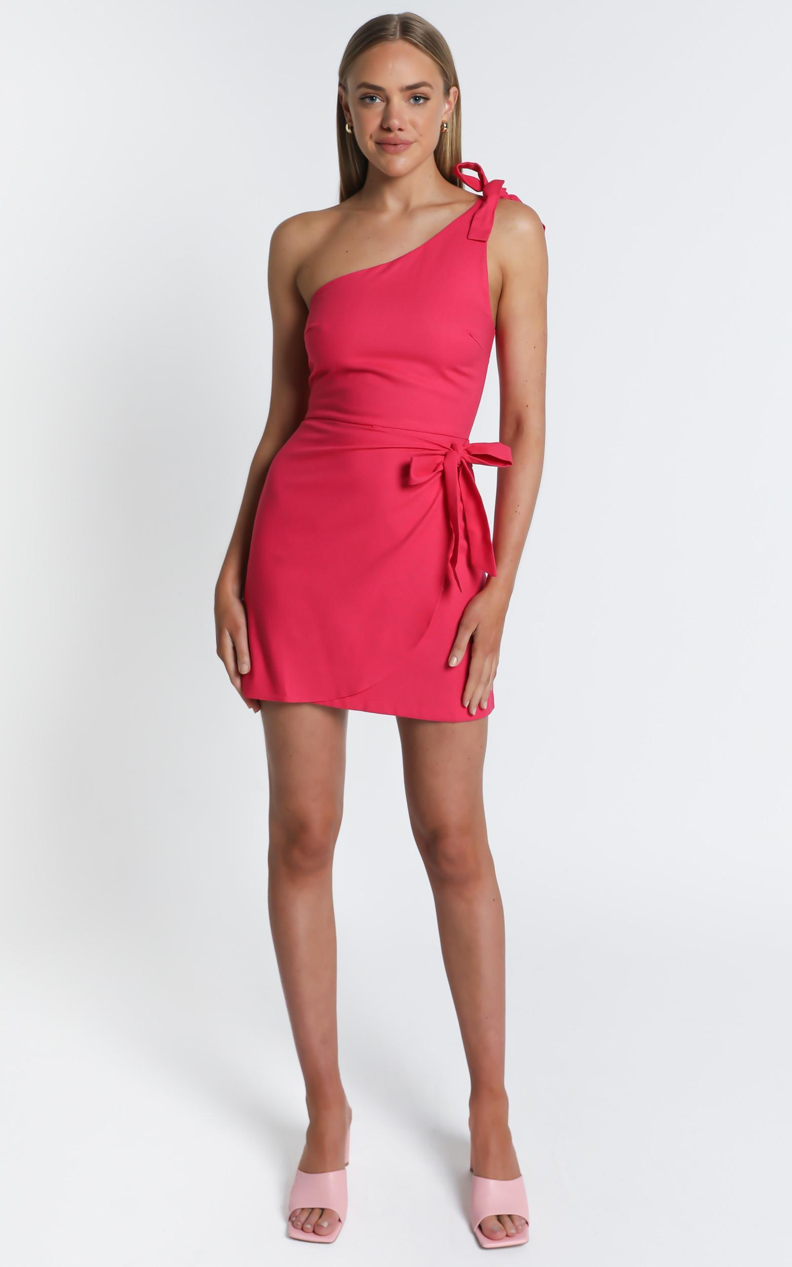 Keeping It Together Dress in berry linen look - 20 (XXXXL), Pink, hi-res image number null