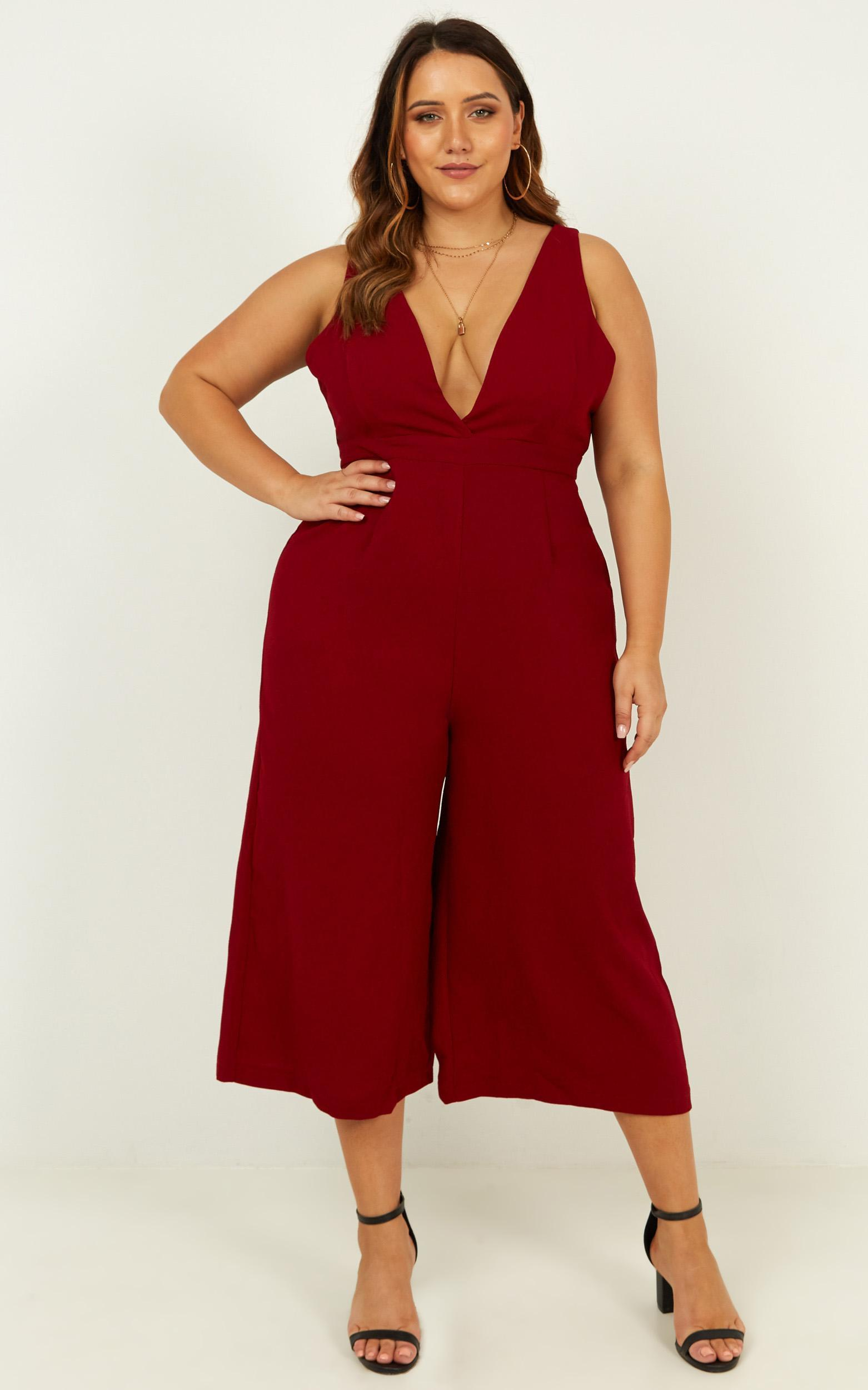 Right Beside Me Jumpsuit in wine - 20 (XXXXL), Wine, hi-res image number null