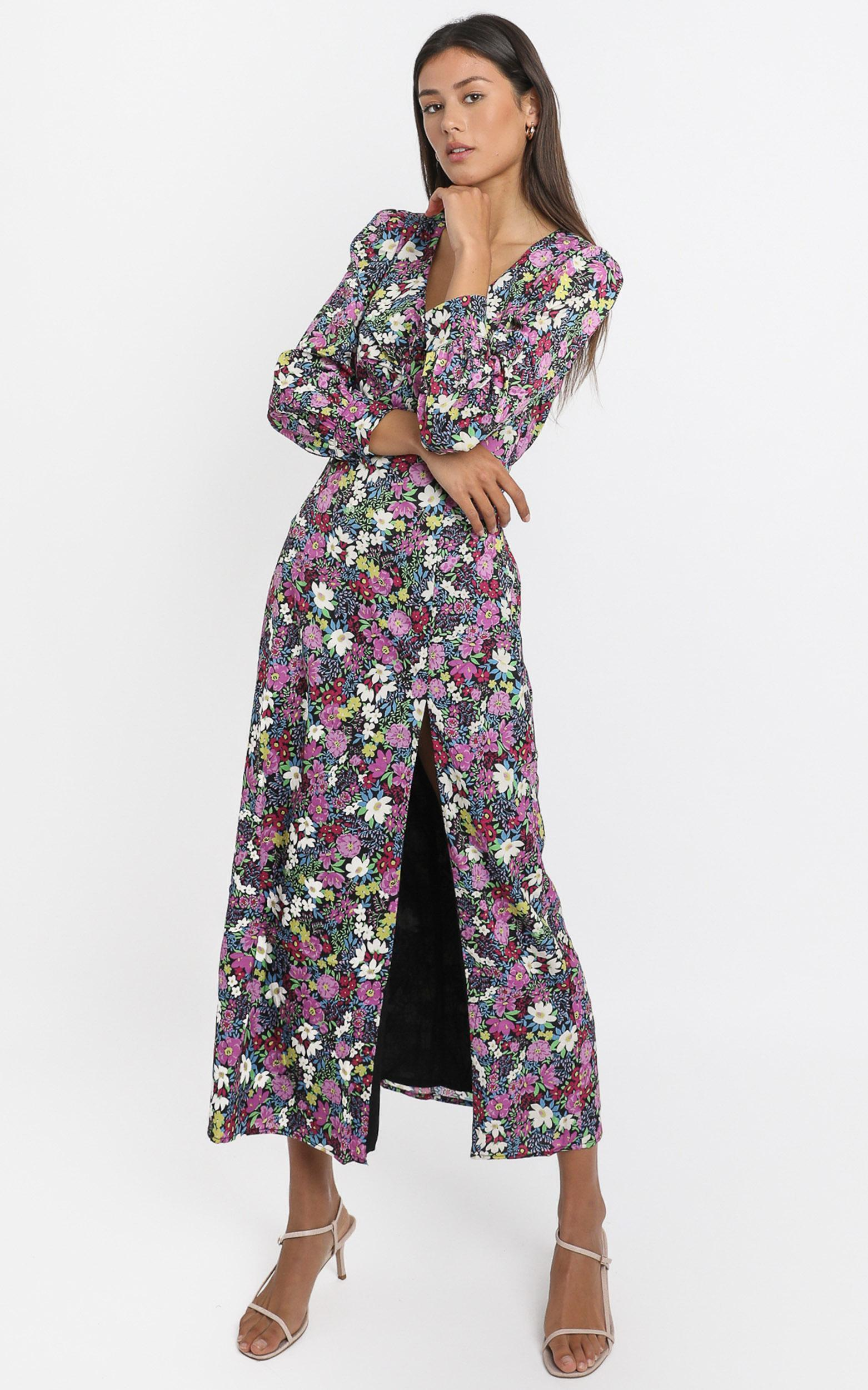 Darcy Midi Dress in forest floral - 6 (XS), Purple, hi-res image number null