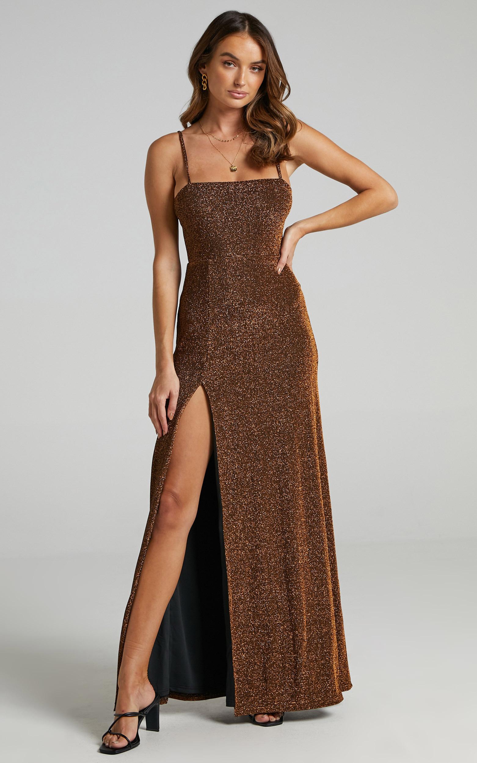 Rheannon Split Mesh Maxi Dress in Copper Lurex - 06, BRN2, hi-res image number null