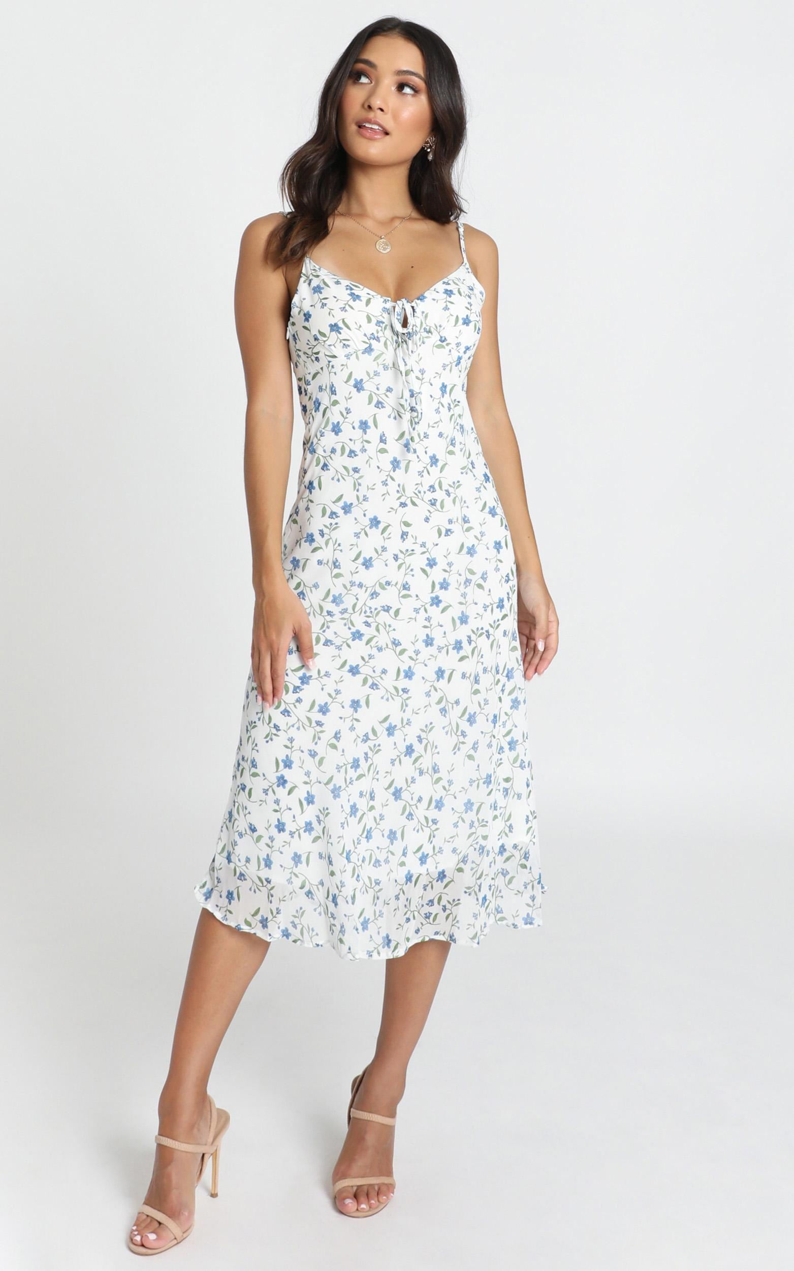 Toss the Dice Dress in white ditsy floral - 12 (L), WHT1, hi-res image number null