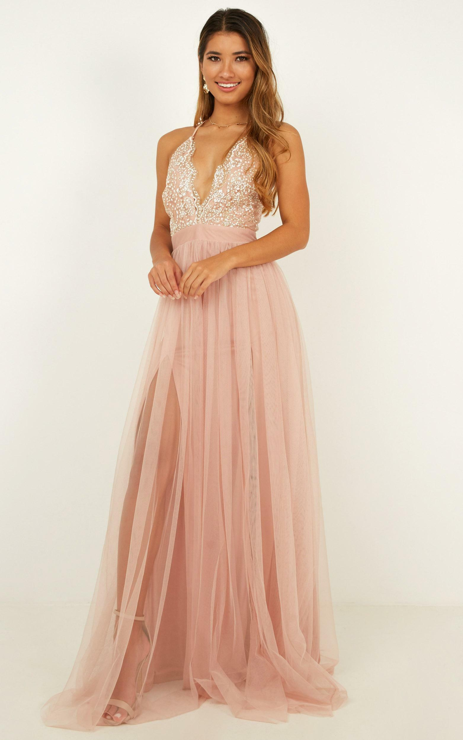 Vision Of Beauty maxi dress in blush glitter - 12 (L), Blush, hi-res image number null