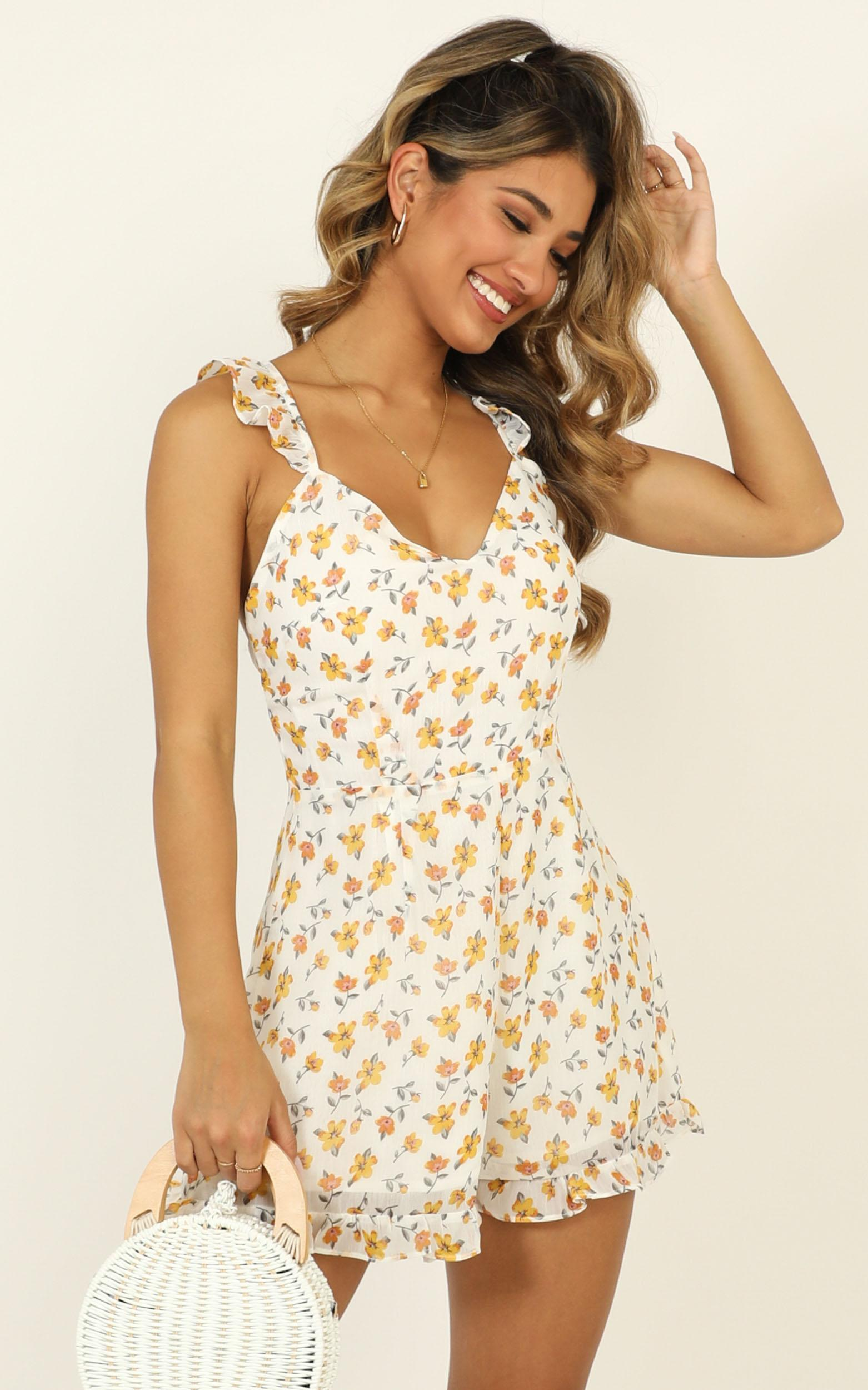 Portside playsuit in mustard floral - 14 (XL), Yellow, hi-res image number null