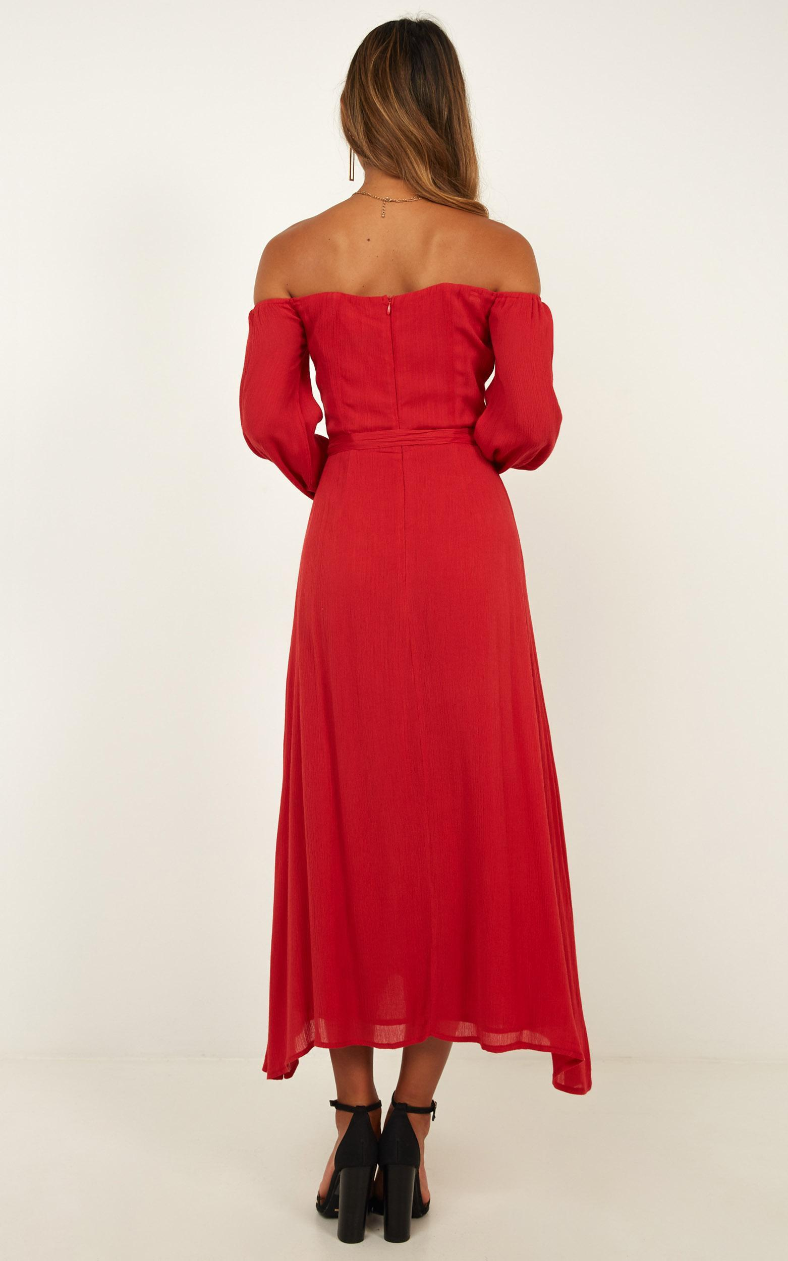 Sorrento Dreaming dress in red linen look - 20 (XXXXL), Red, hi-res image number null