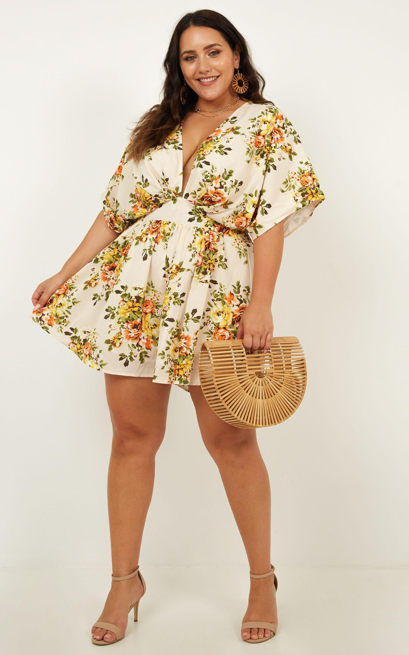 Lost In The Wind Playsuit in cream floral - 20 - (XXXXL), Cream, hi-res image number null
