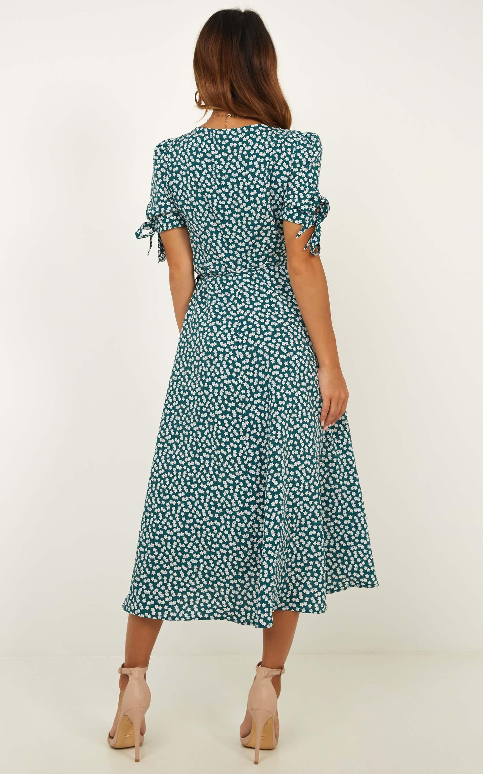 Dont Dream Its Over Dress In Emerald Floral - 4 (XXS), Green, hi-res image number null