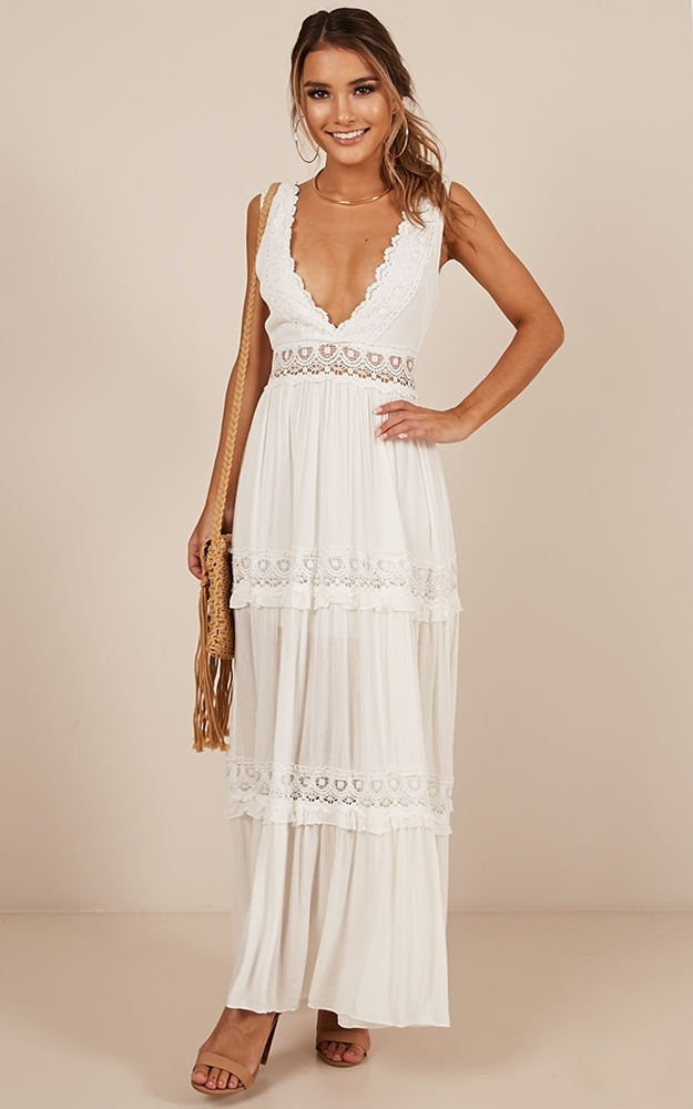 Thrills And Spills maxi dress in white - 14 (XL), White, hi-res image number null