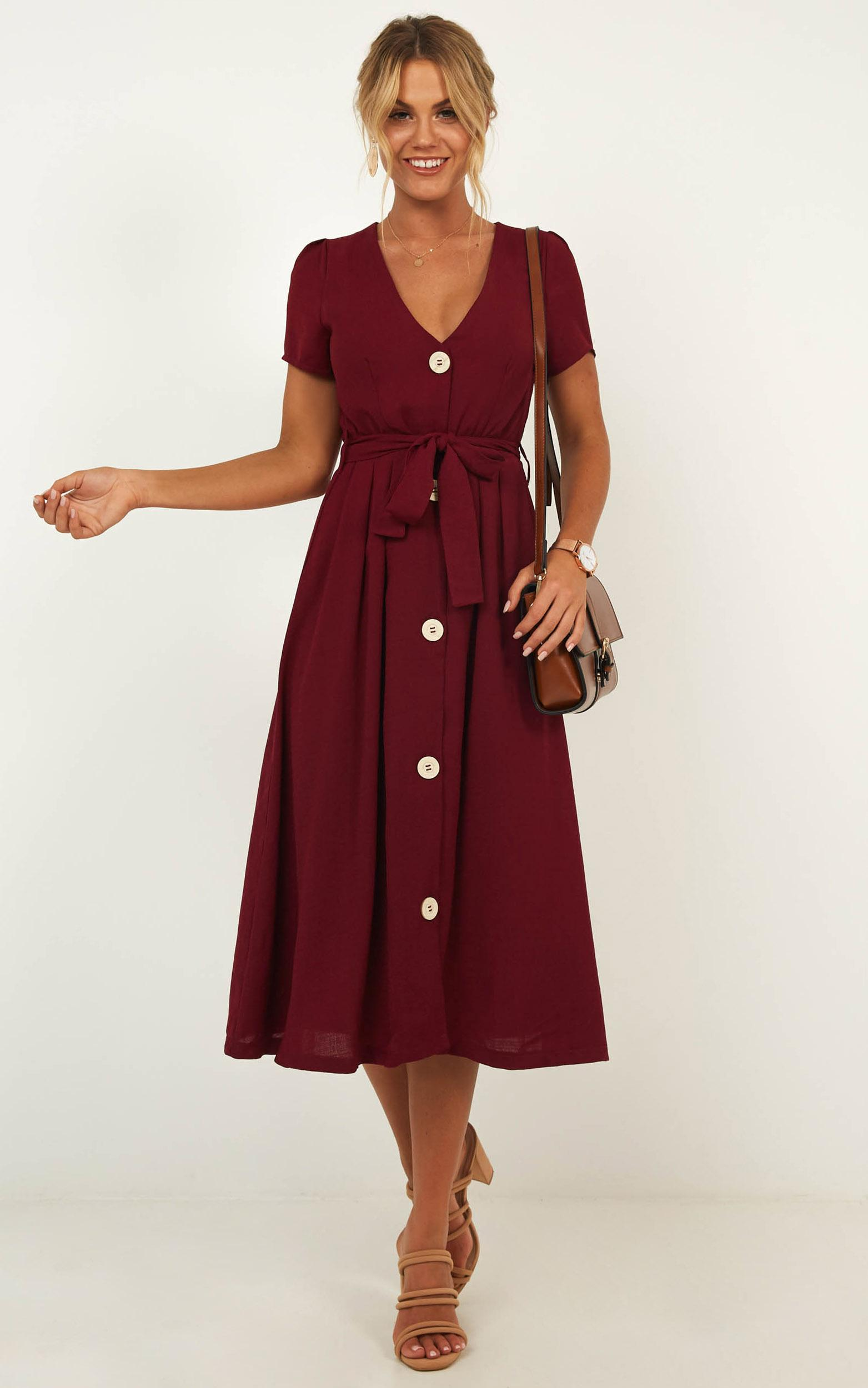 Research Breakthrough Dress In Wine - 4 (XXS), Wine, hi-res image number null