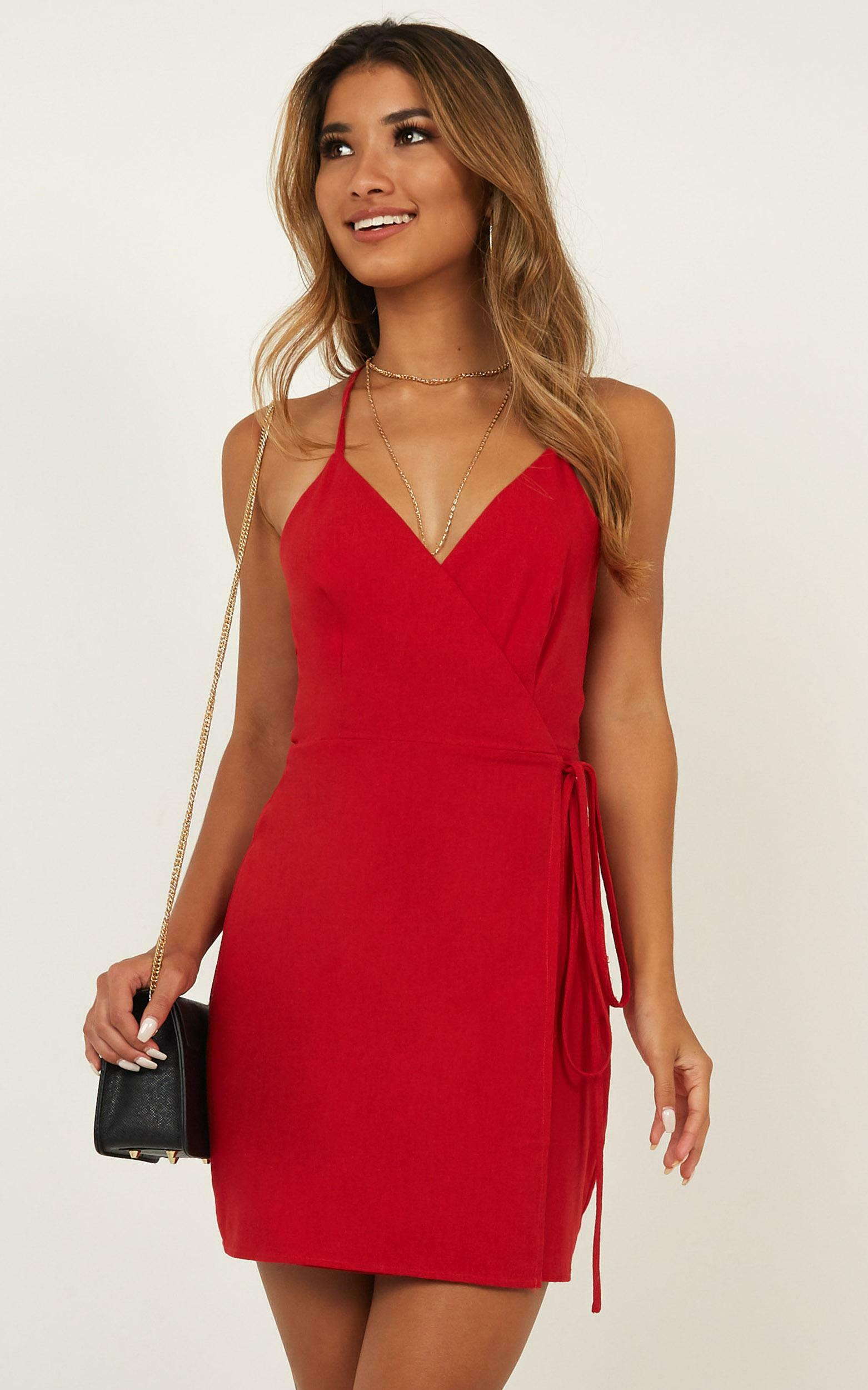Whisper it Dress in red linen look - 20 (XXXXL), Red, hi-res image number null