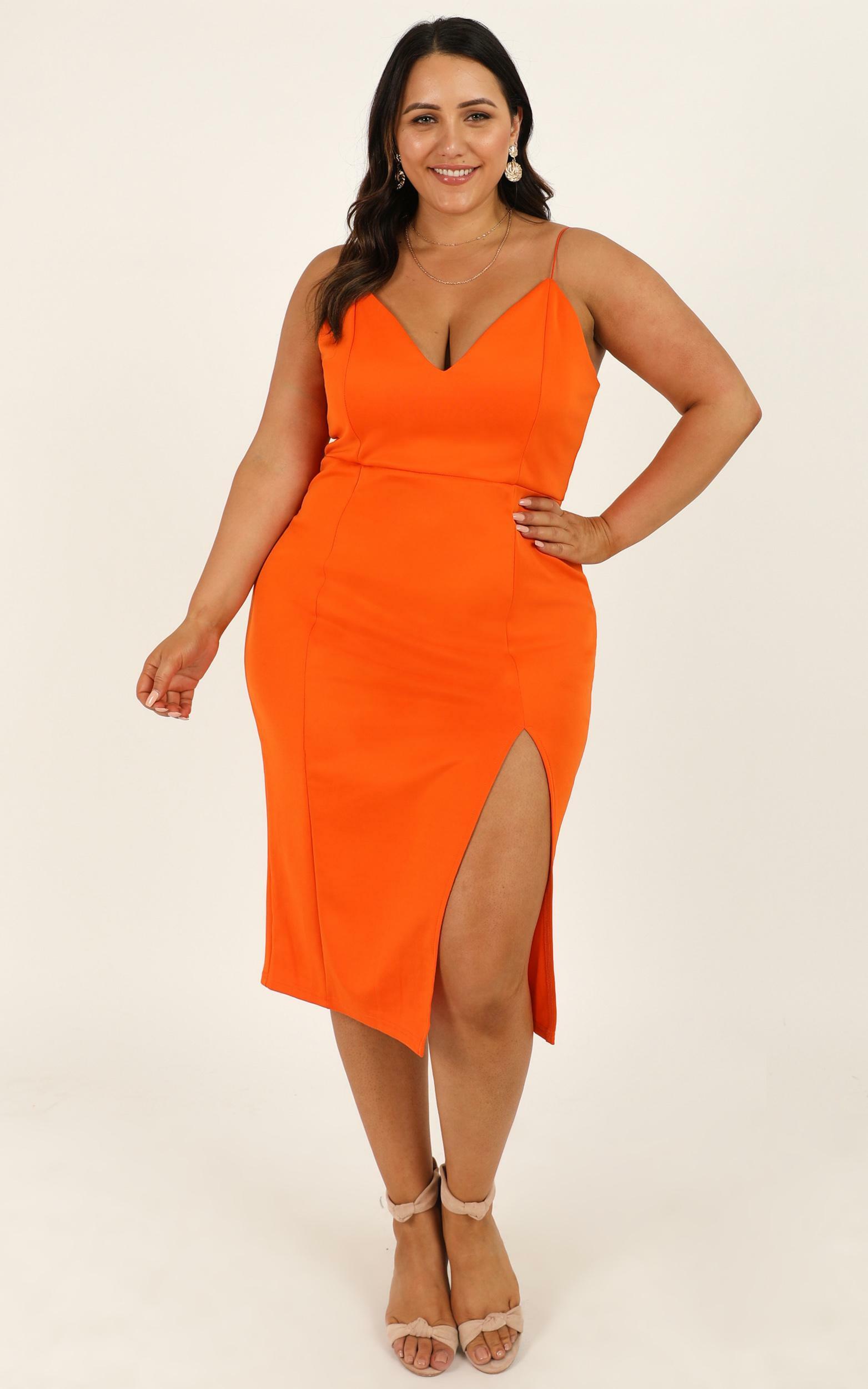Big Ideas Midi Dress in Tangerine - 20, ORG5, hi-res image number null