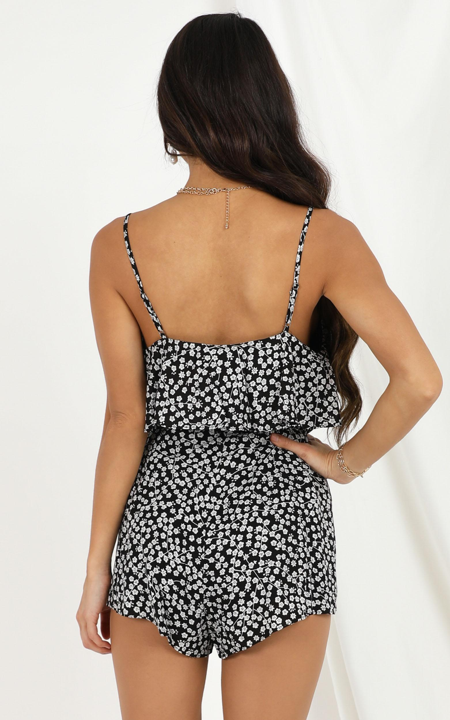 All that I see playsuit in black floral - 20 (XXXXL), Black, hi-res image number null