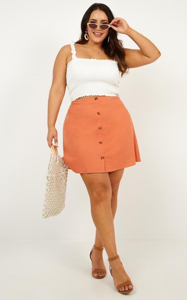 How About It skirt in tangerine Linen Look - 12 (L), Orange, hi-res image number null
