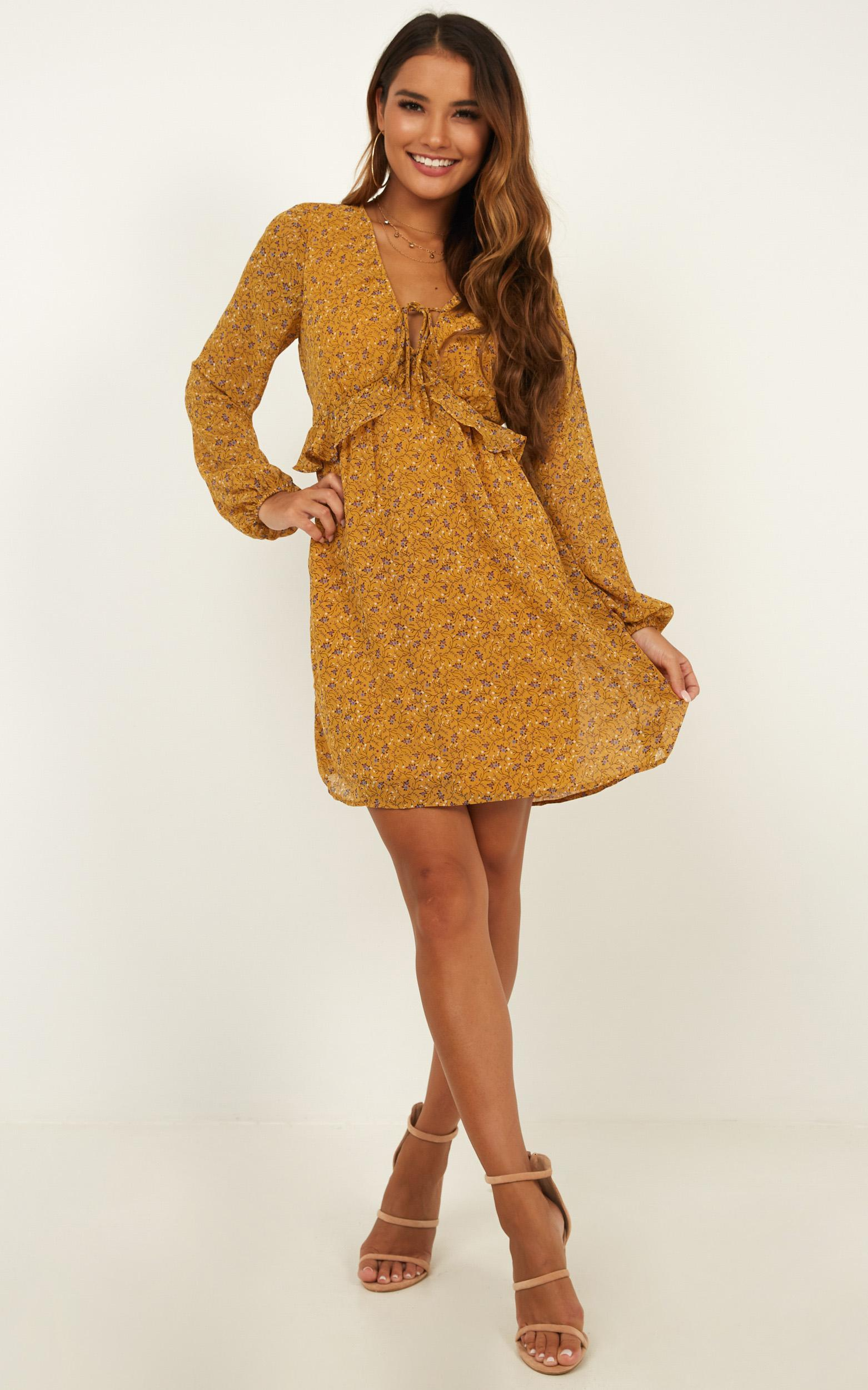 Channeled Energy dress in mustard floral - 12 (L), Mustard, hi-res image number null
