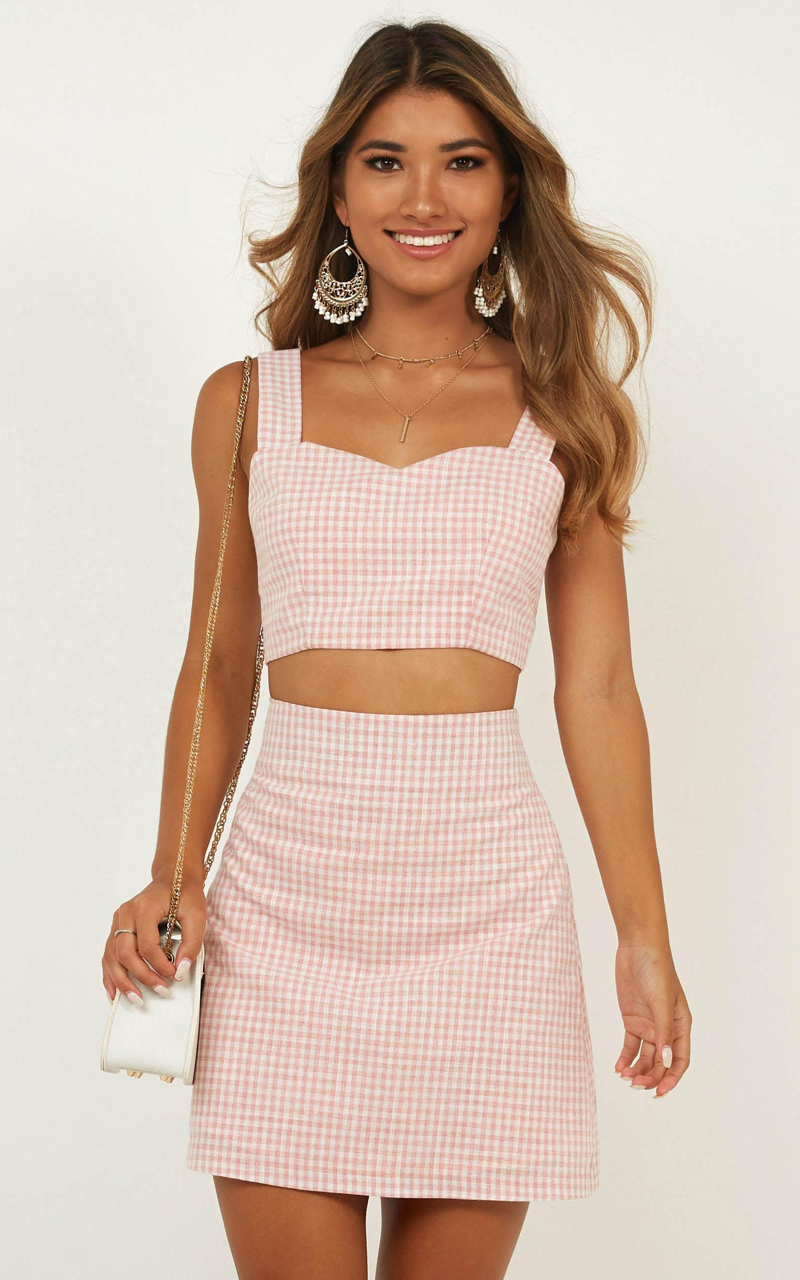 Teenage Love Two Piece set in blush check - 20 (XXXXL), Blush, hi-res image number null