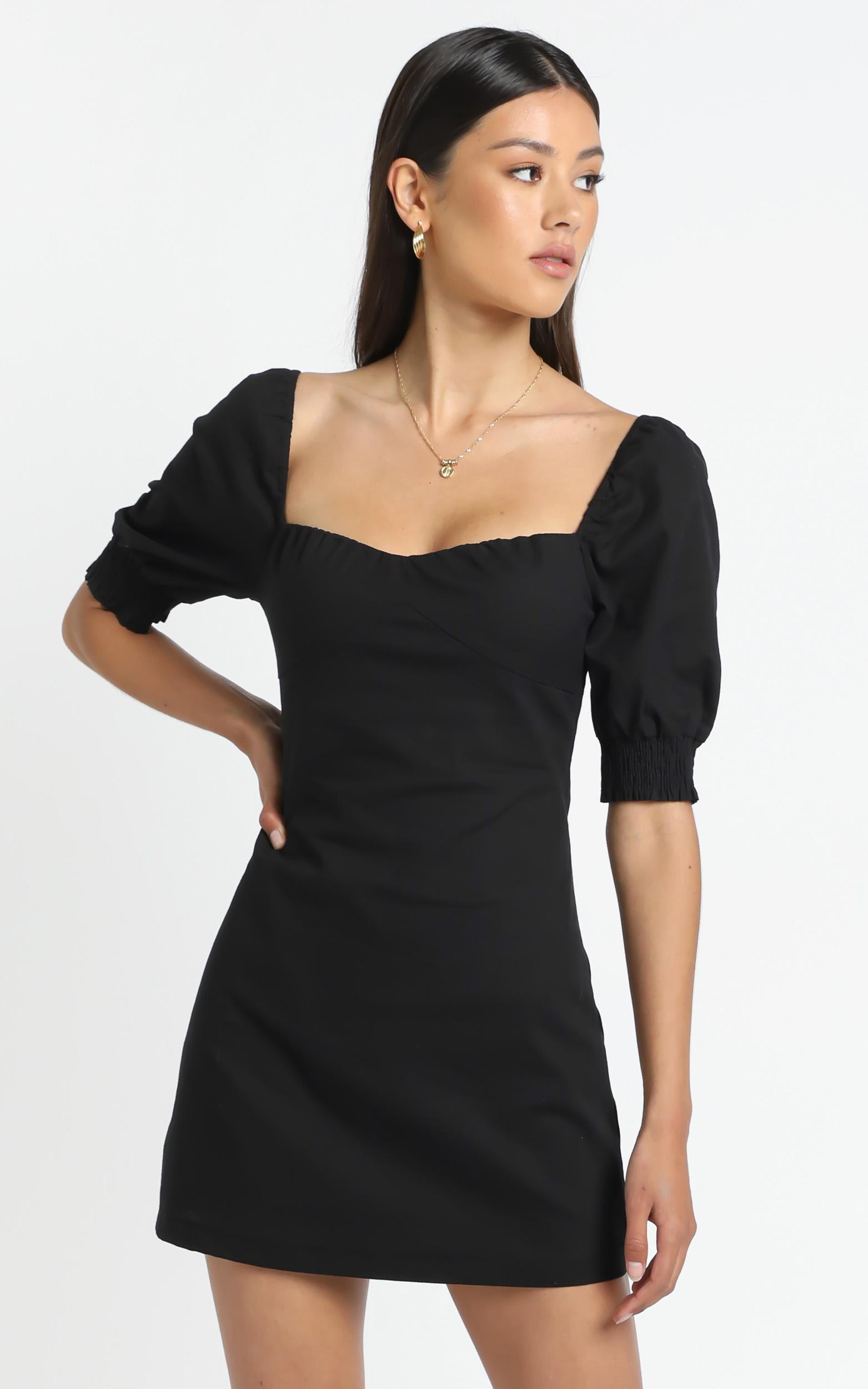 Sneaky Chatter Dress in Black Linen Look - 20 (XXXXL), Black, hi-res image number null