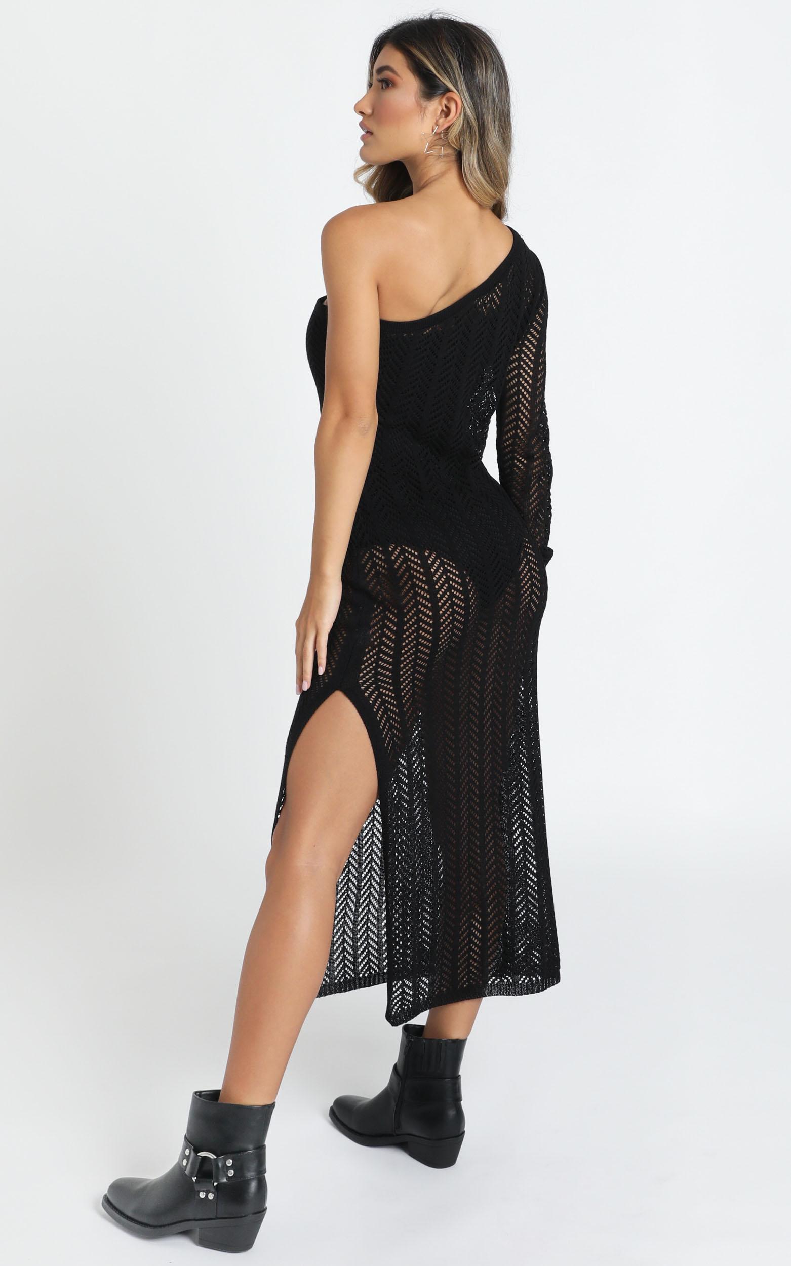 Drop Your Love Knit Dress in black - 14 (XL), Black, hi-res image number null