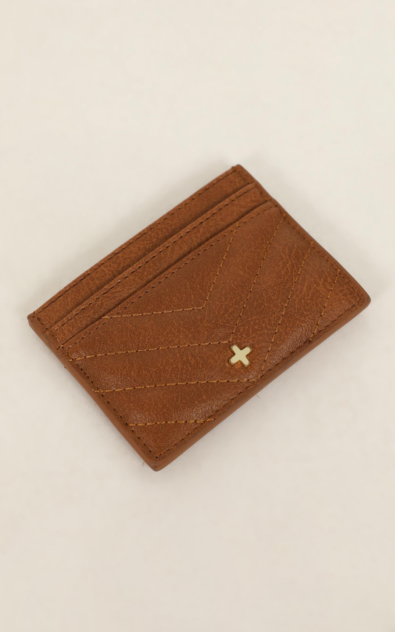 Peta and Jain - Izzy Card Holder In Tan Quilted, Tan, hi-res image number null
