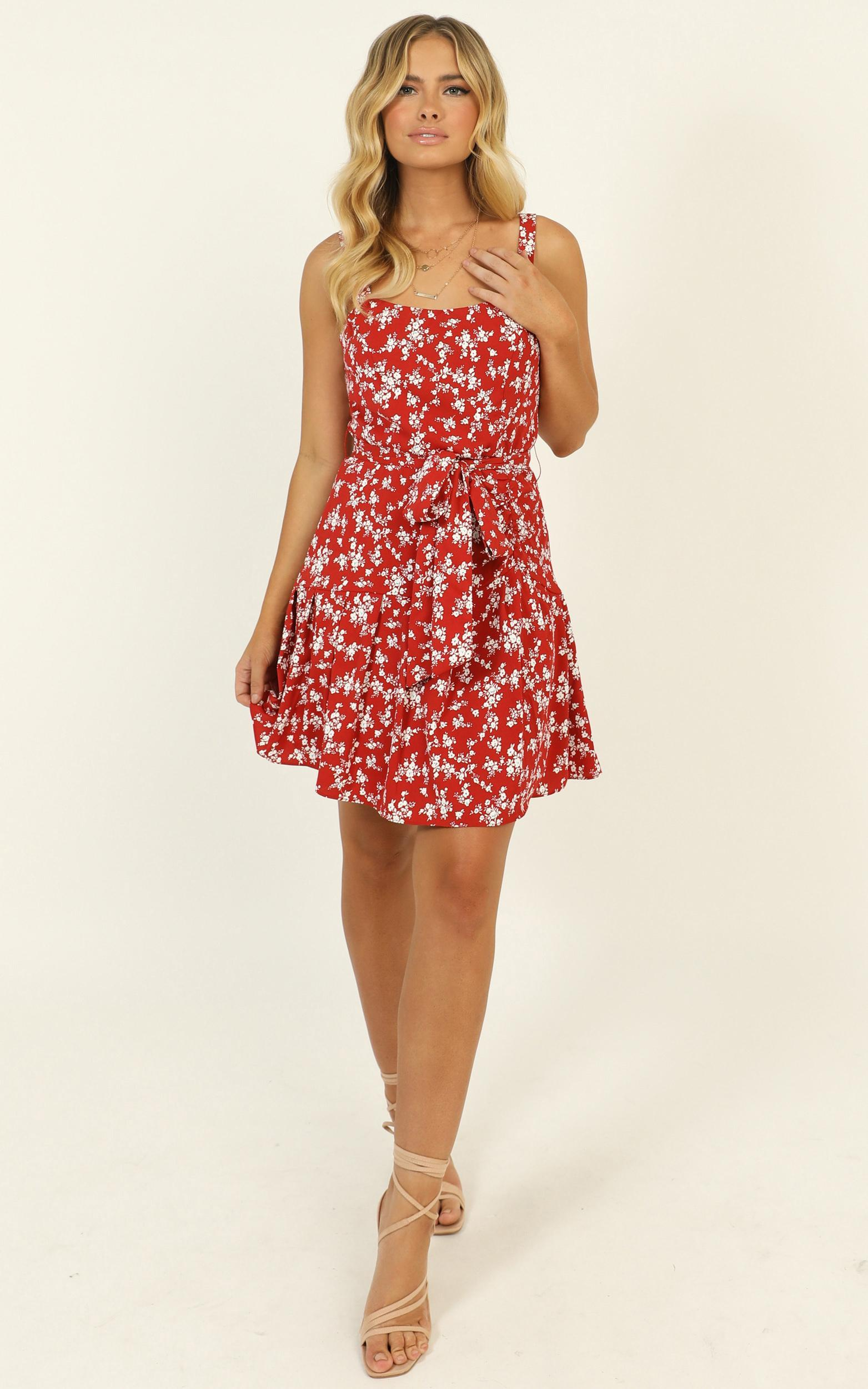 Biggest Comeback dress in red floral - 14 (XL), Red, hi-res image number null